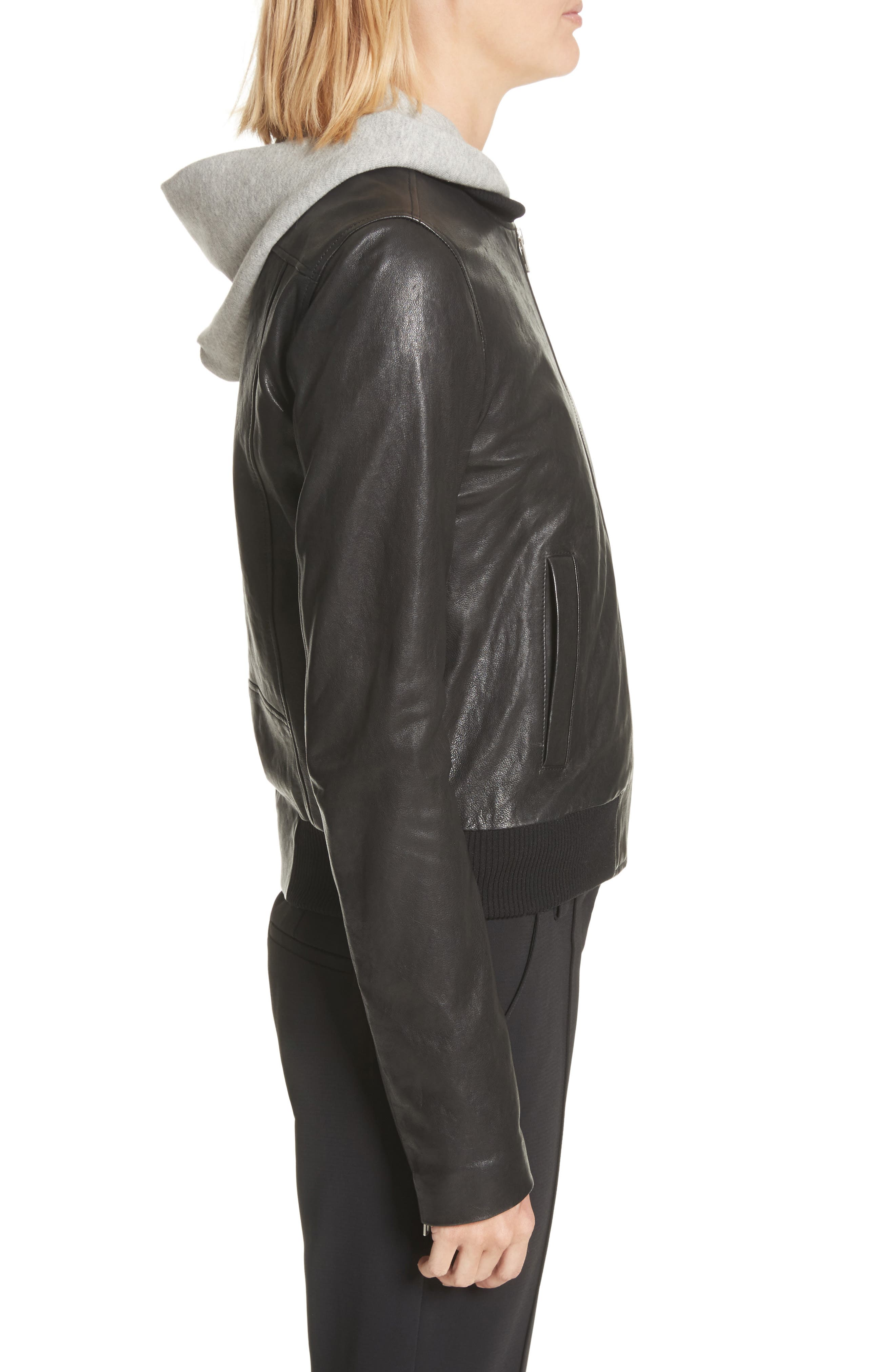 Edison Leather Jacket with Removable Hooded Inset,                             Alternate thumbnail 4, color,                             Black