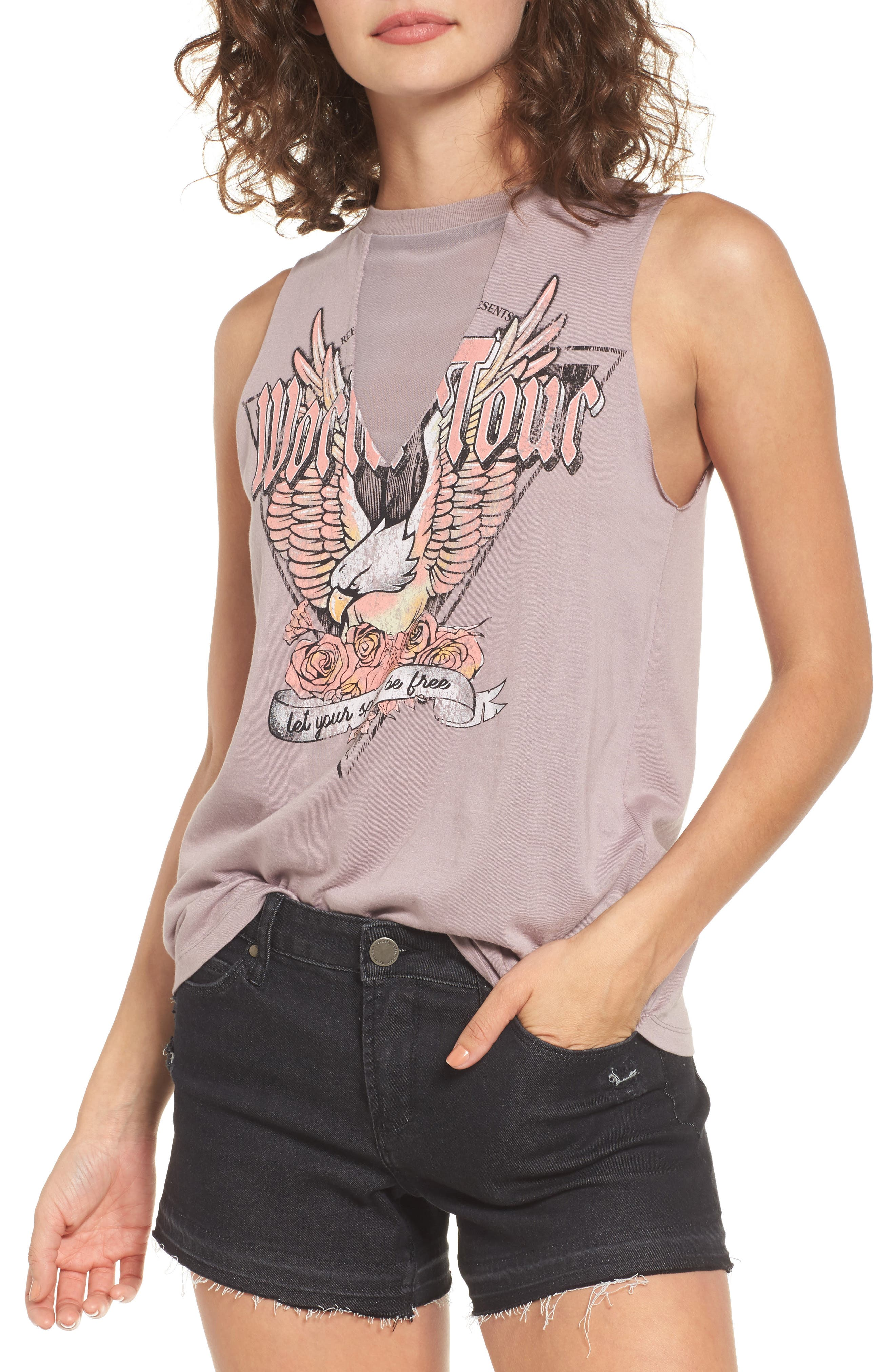 Mesh Inset Graphic Muscle Tee,                             Main thumbnail 1, color,                             Purple Peace