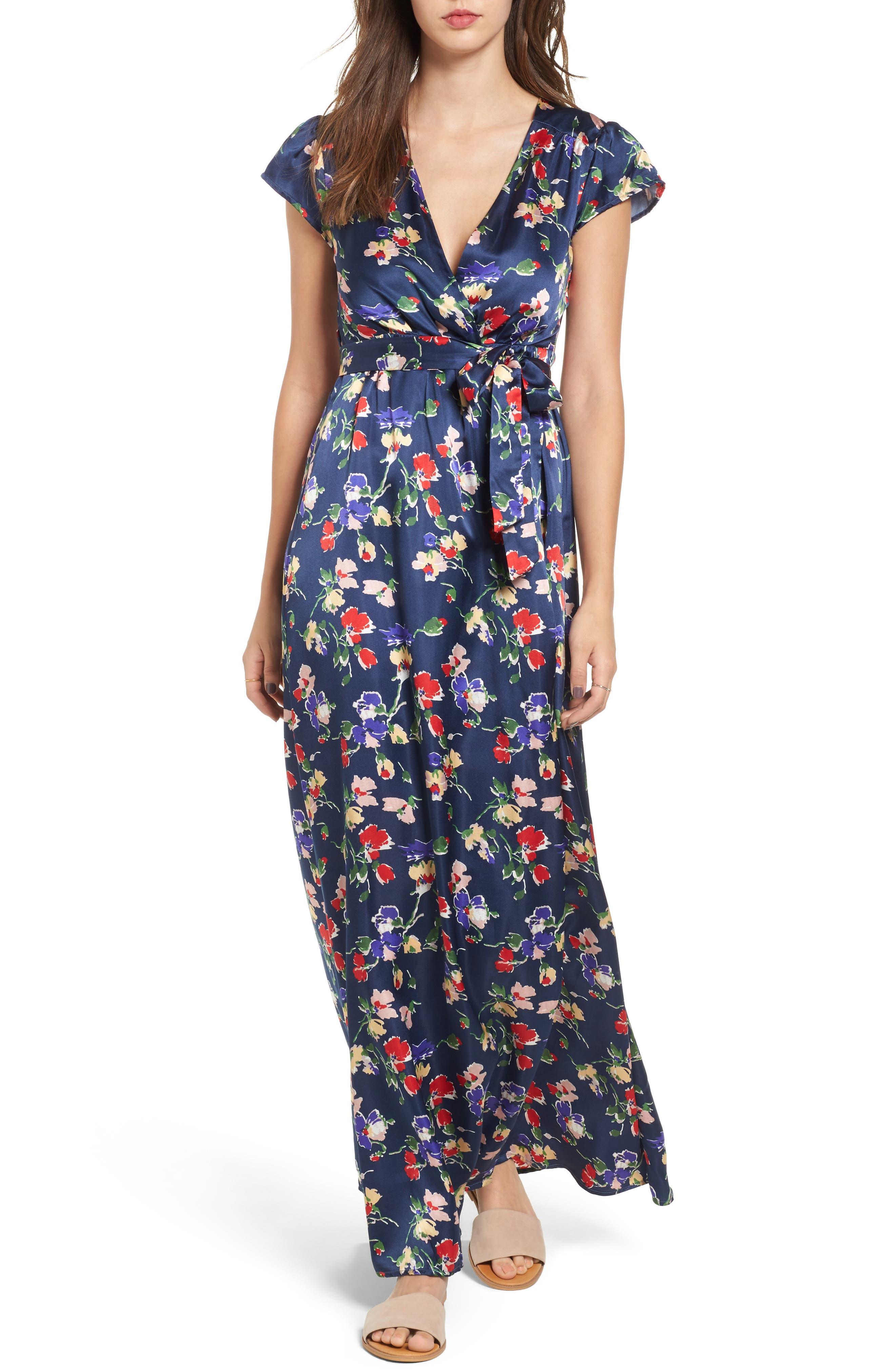 Floral Satin Faux Wrap Maxi Dress,                         Main,                         color, Armada Stripe