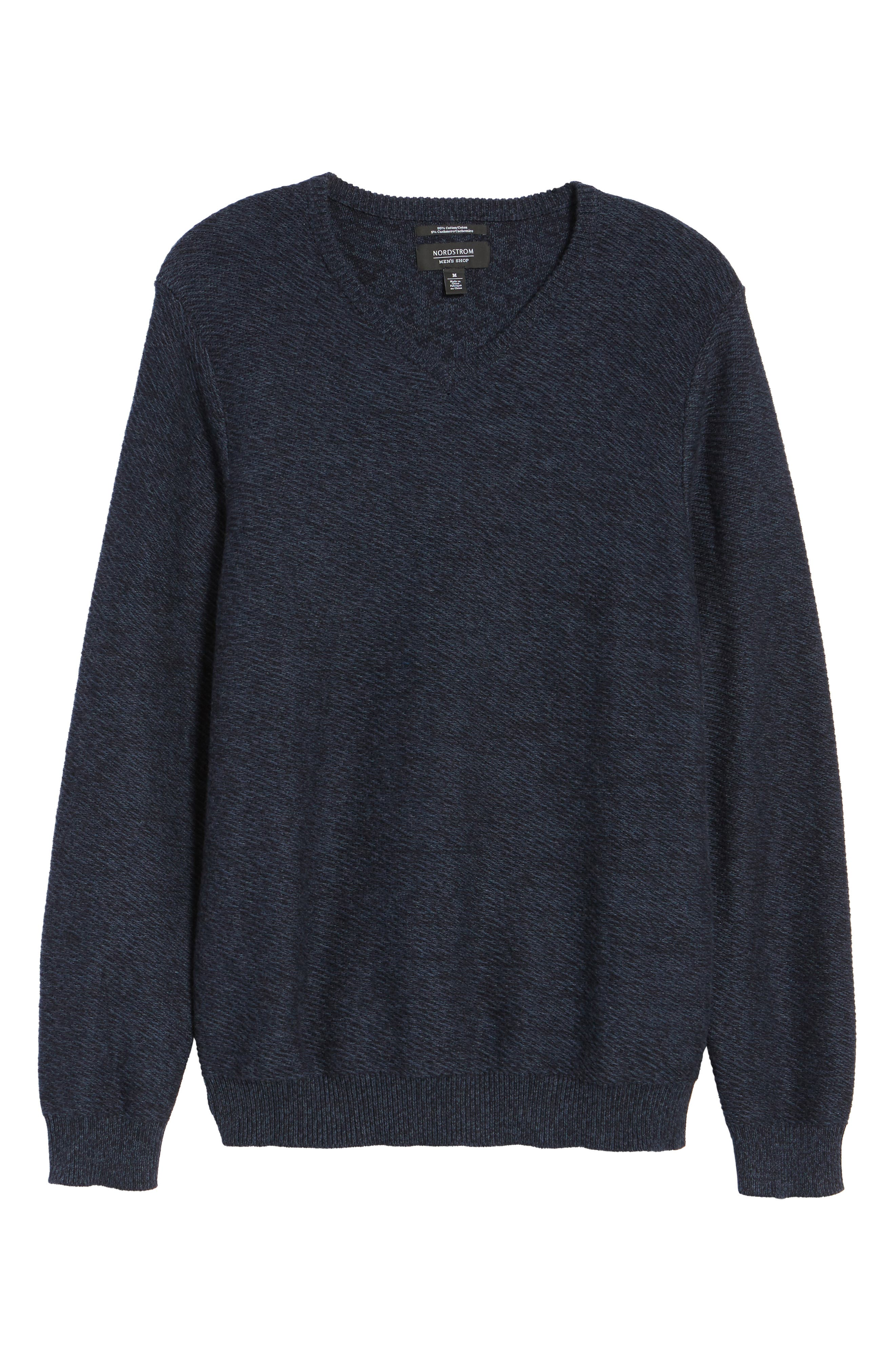 Cotton & Cashmere V-Neck Sweater,                             Alternate thumbnail 7, color,                             Navy Iris Melange