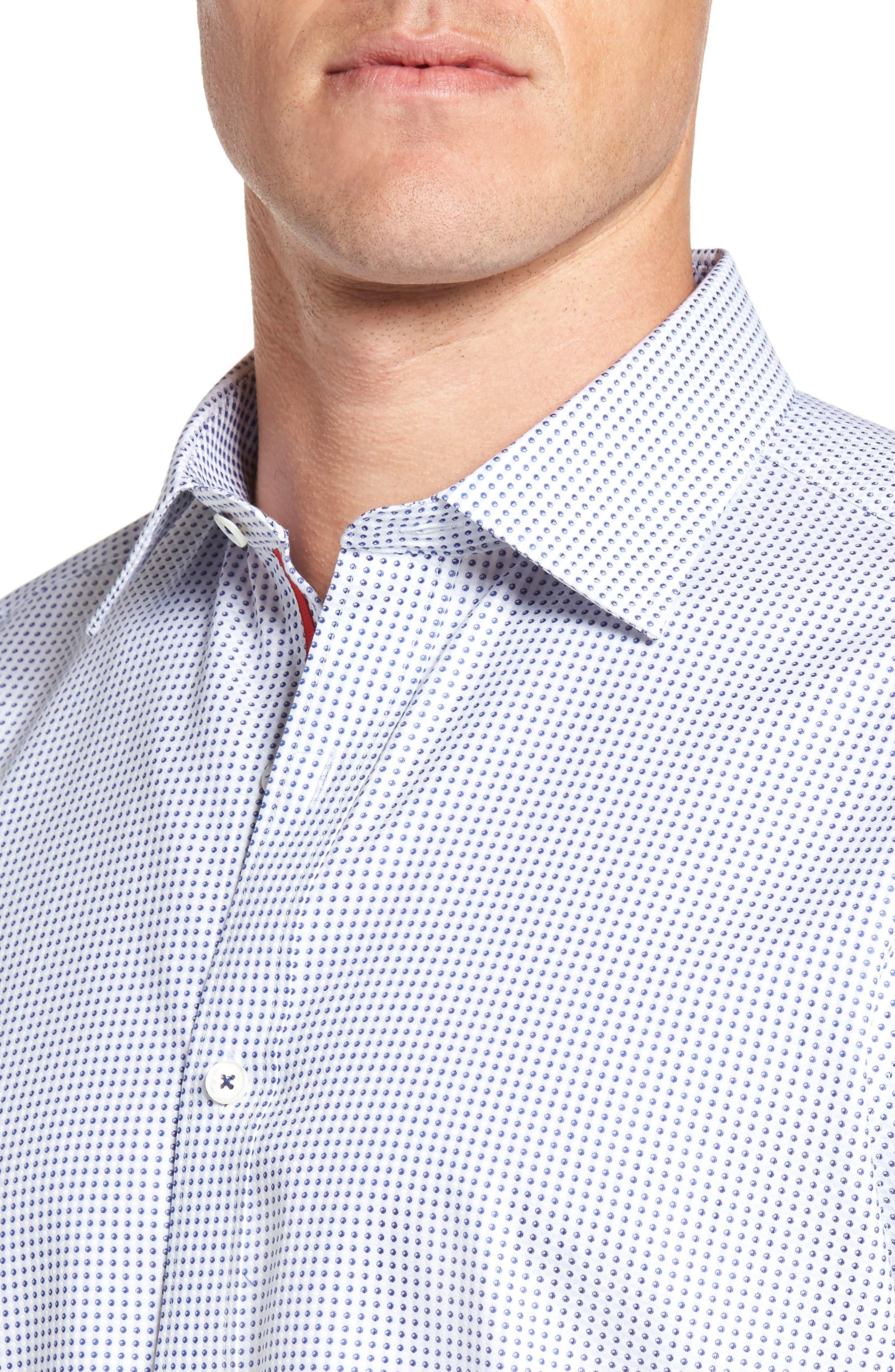 Classic Fit Dot Sport Shirt,                             Alternate thumbnail 4, color,                             Navy