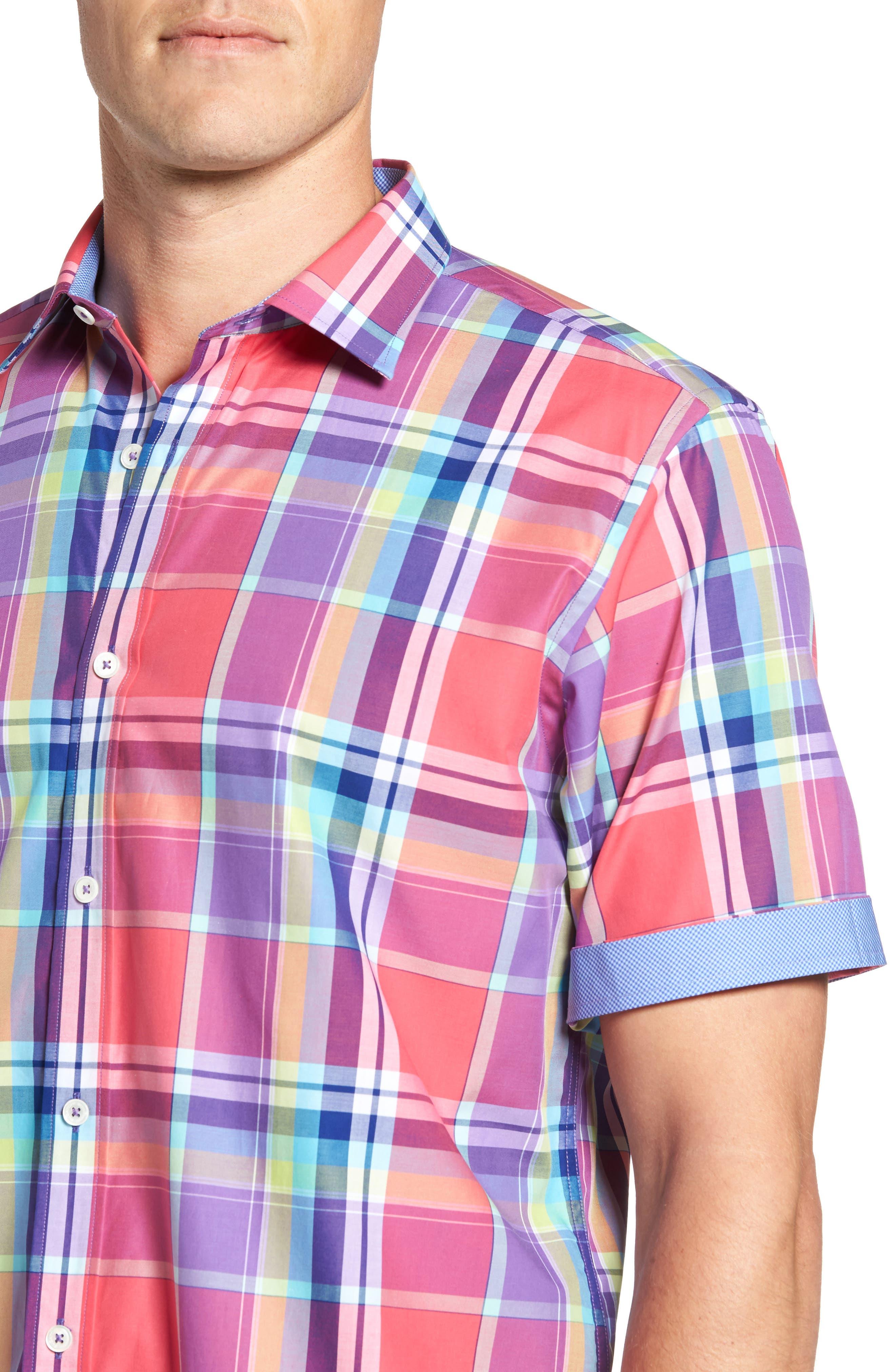 Classic Fit Plaid Sport Shirt,                             Alternate thumbnail 4, color,                             Cherry