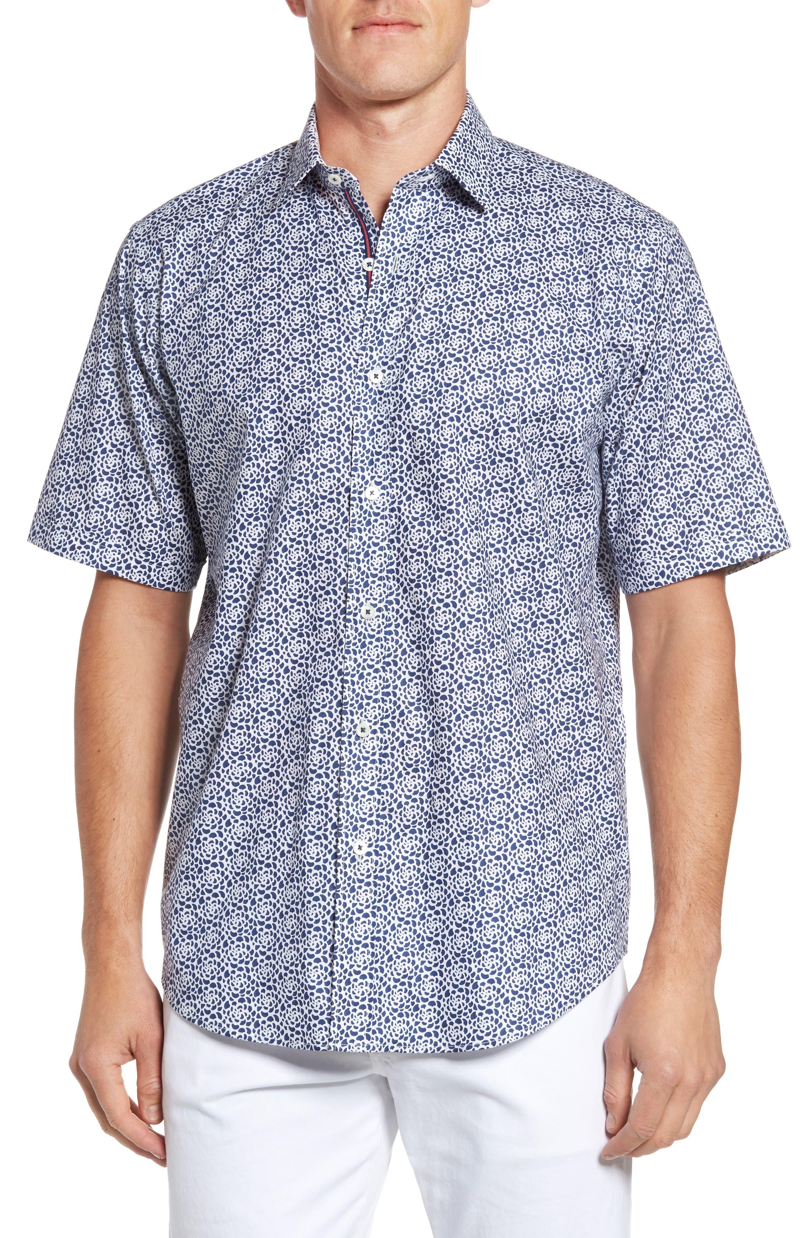 Classic Fit Print Short Sleeve Sport Shirt,                         Main,                         color, Navy