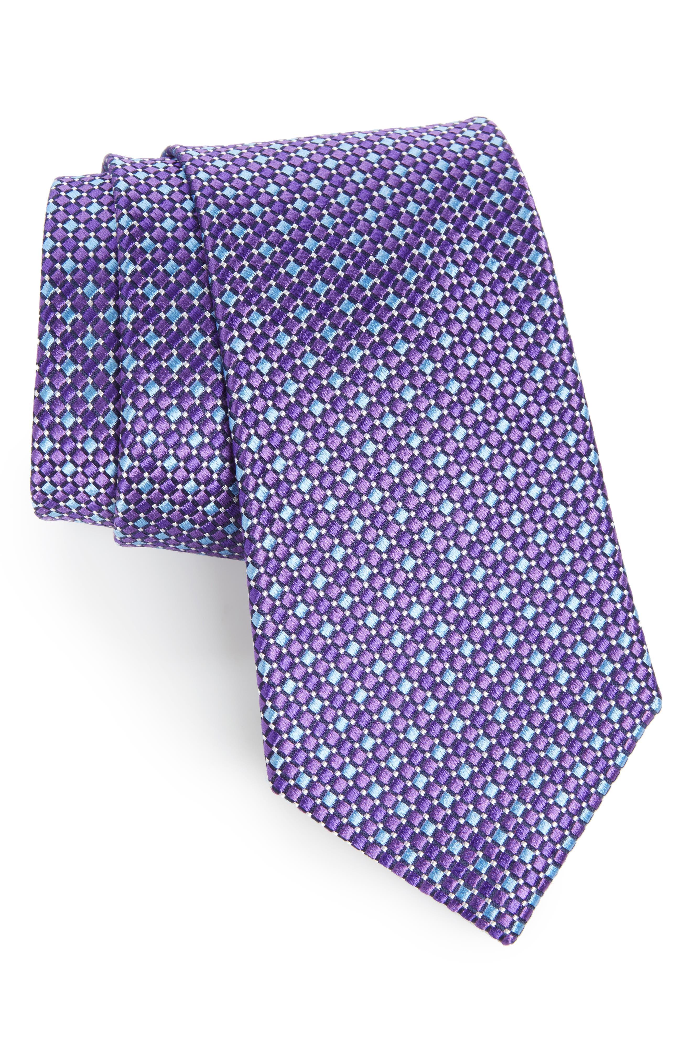 Geo Pattern Silk Tie,                         Main,                         color, Purple