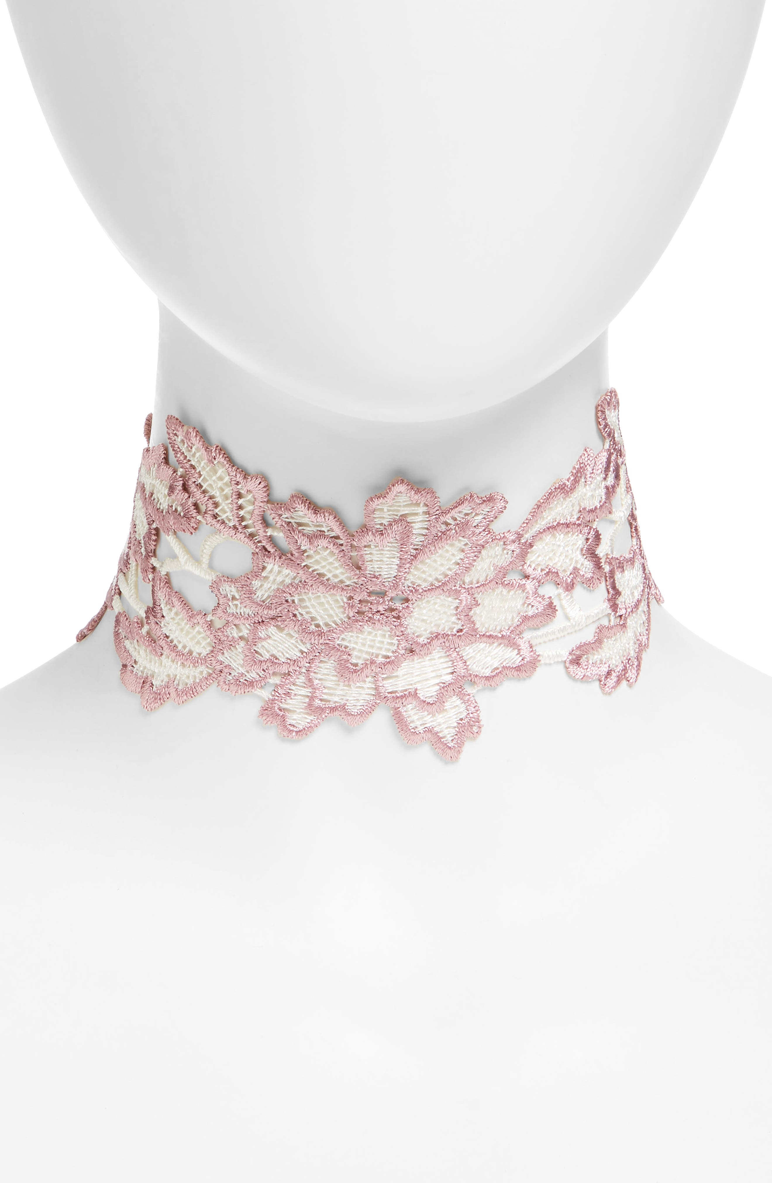 Topshop Embroidered Floral Lace Choker