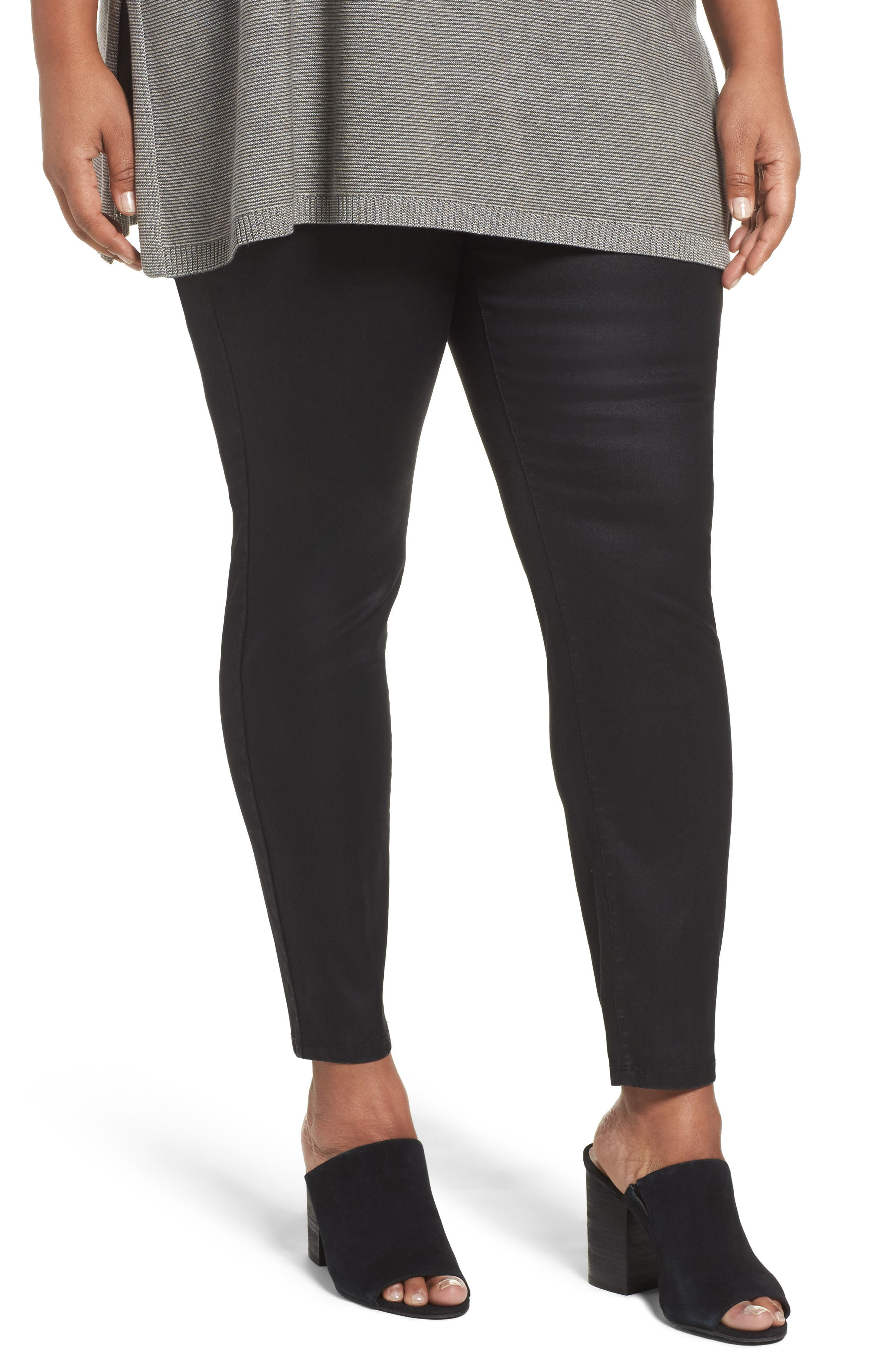 Stretch Denim Leggings,                         Main,                         color, Black