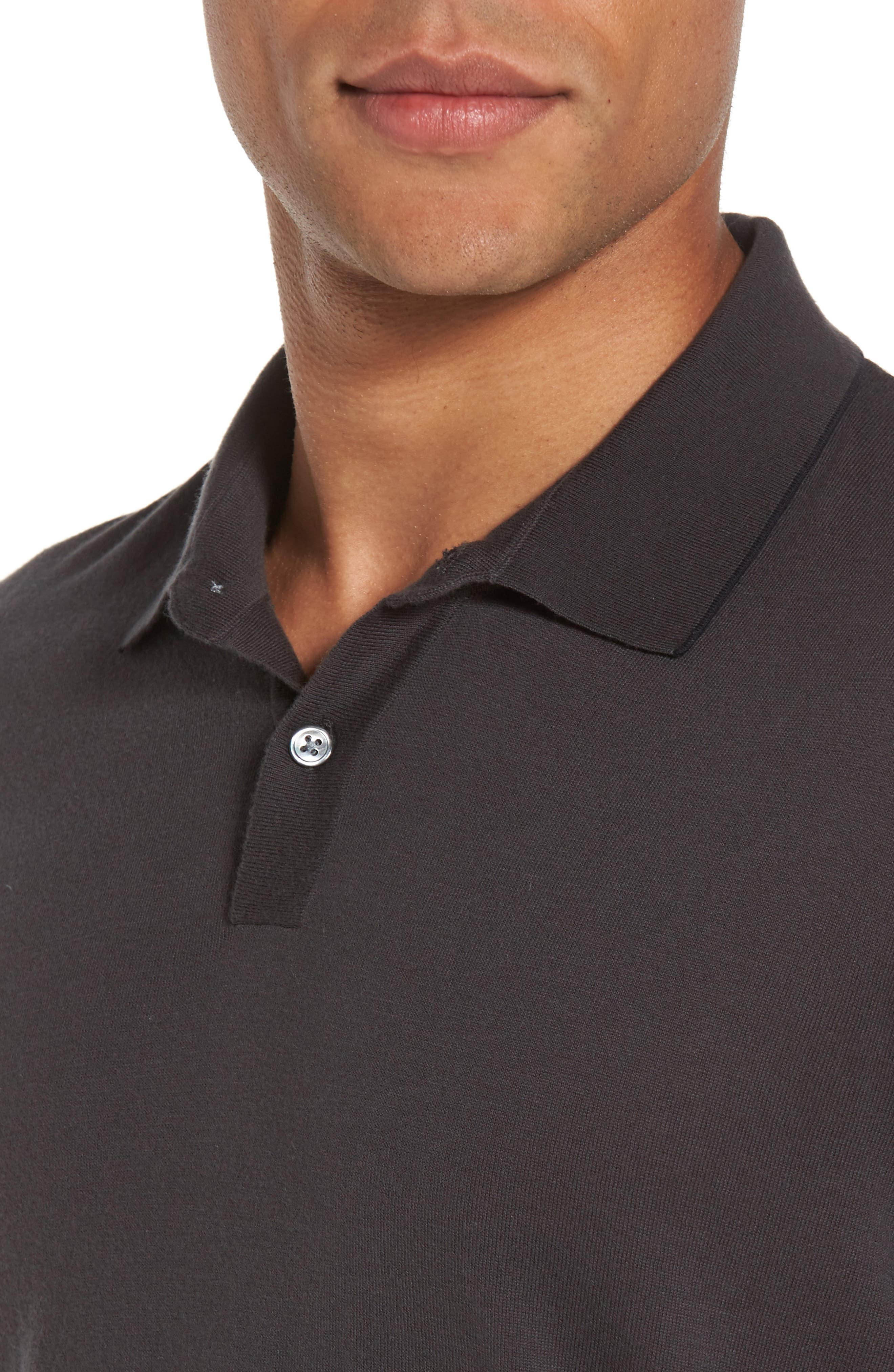 Fine Gauge Tipped Polo,                             Alternate thumbnail 4, color,                             Chimney/ Squid