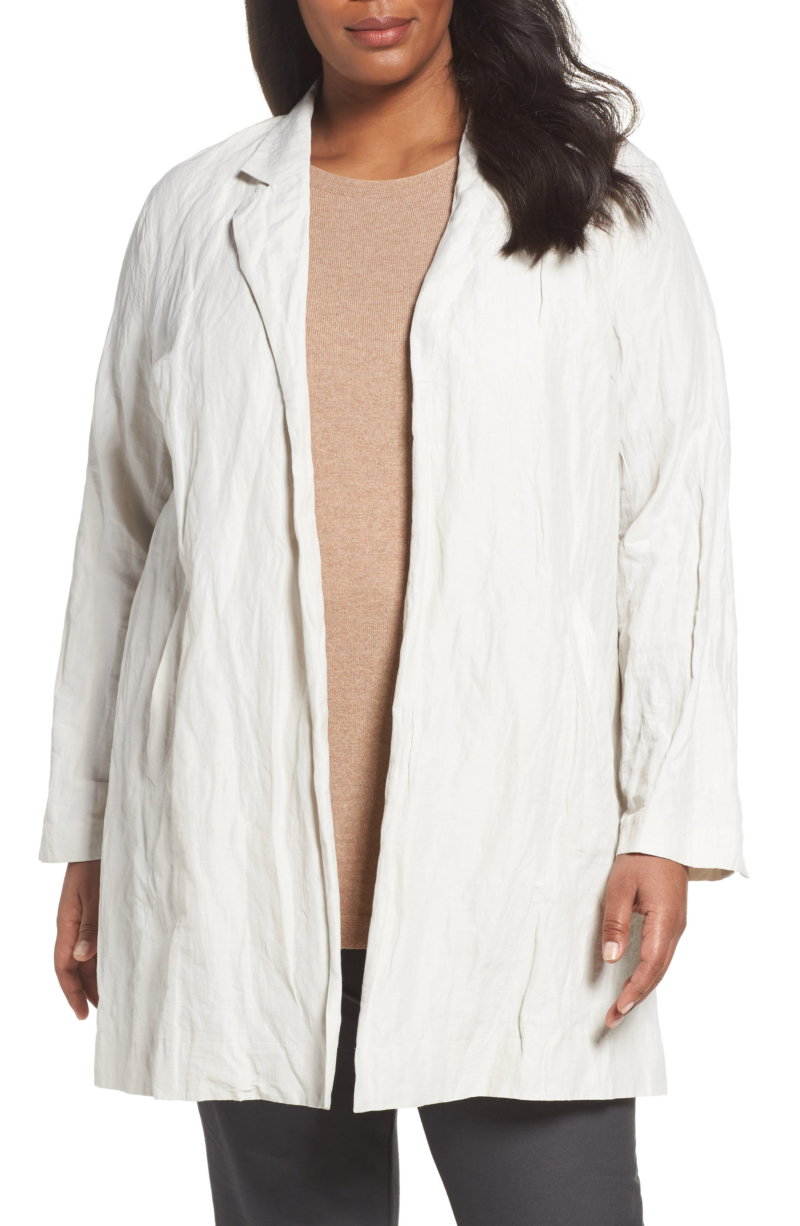 Eileen Fisher Notch Collar Long Jacket (Plus Size)