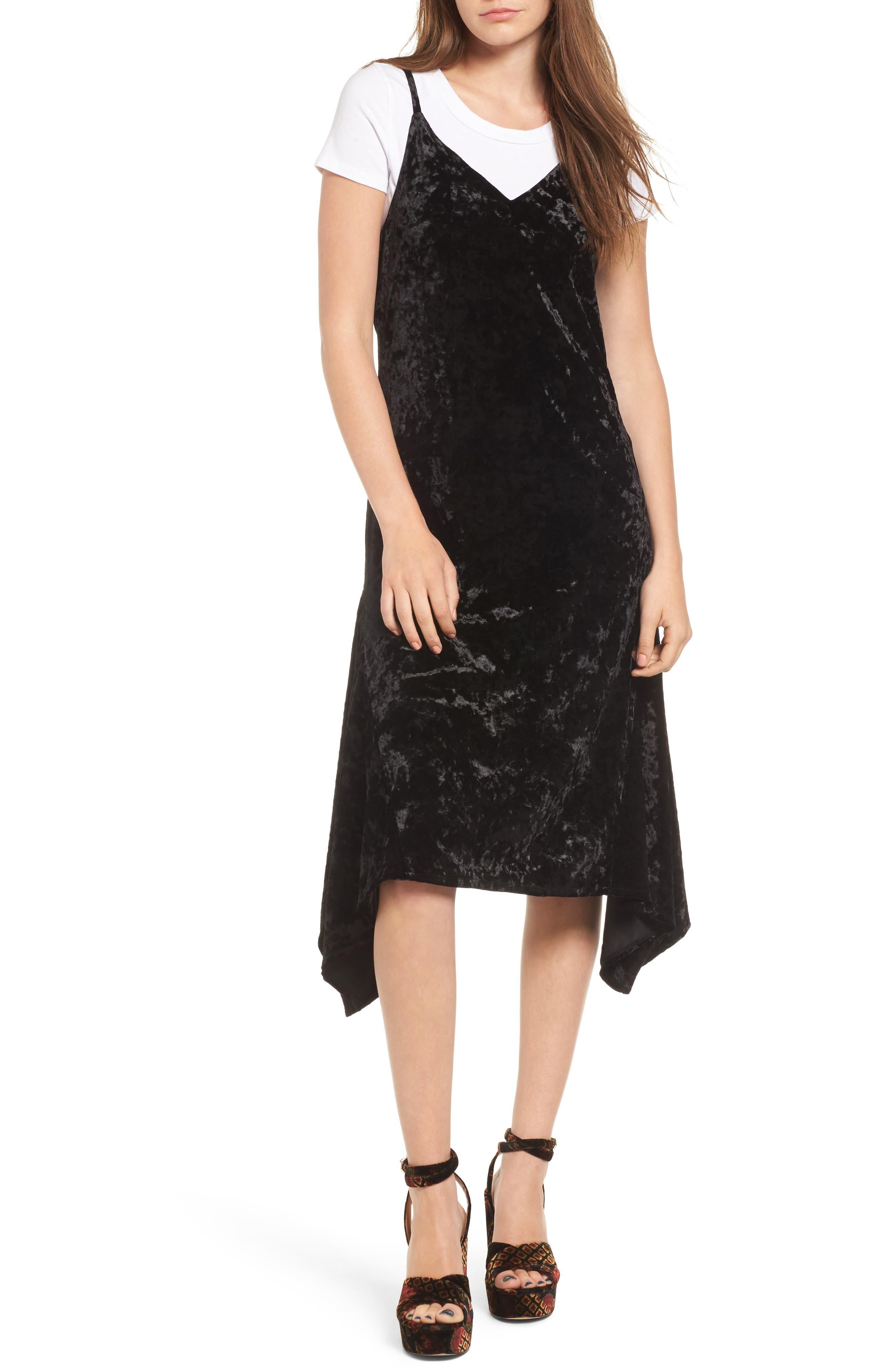 Velour Slipdress,                         Main,                         color, Black