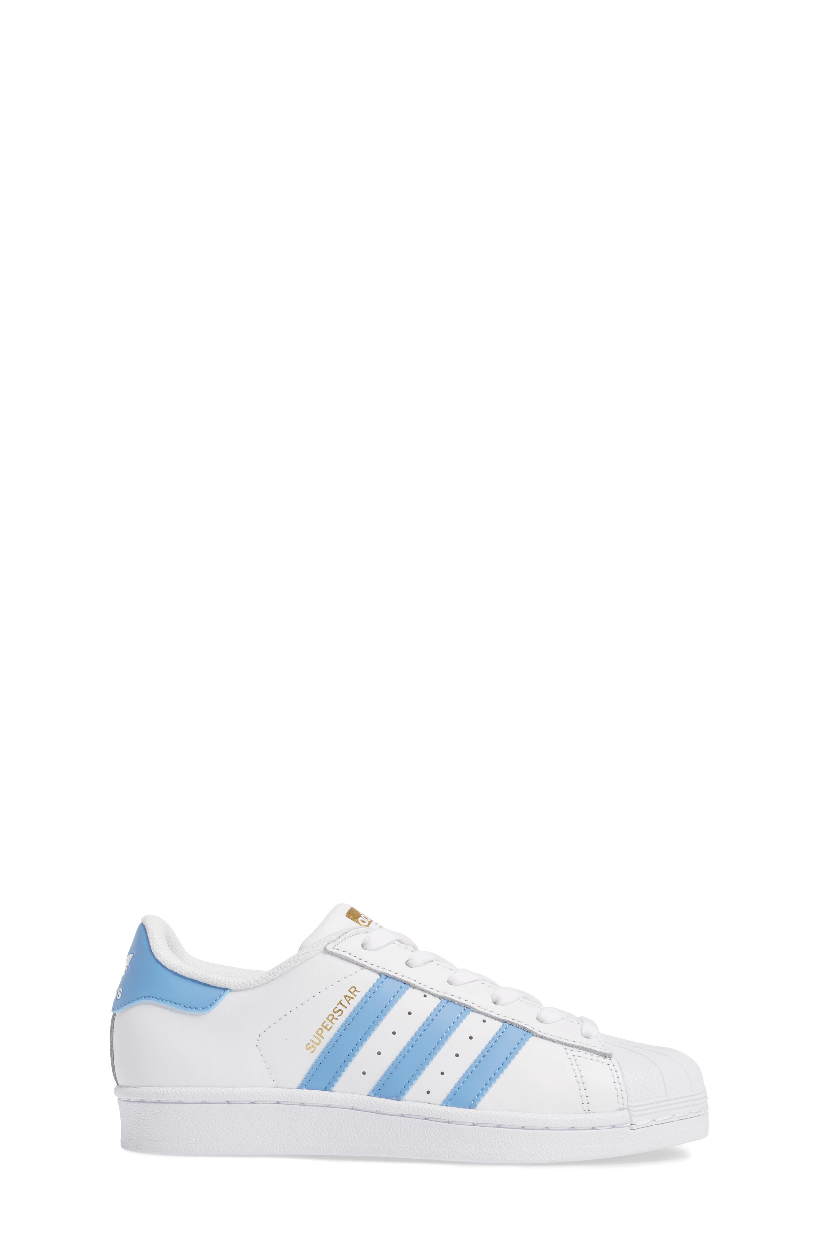 Superstar Foundation Sneaker,                             Alternate thumbnail 3, color,                             White/ Light Blue/ Gold