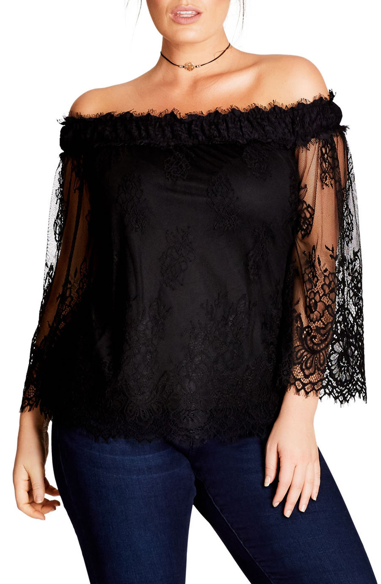Alternate Image 1 Selected - City Chic Soft Lace Off the Shoulder Top (Plus Size)