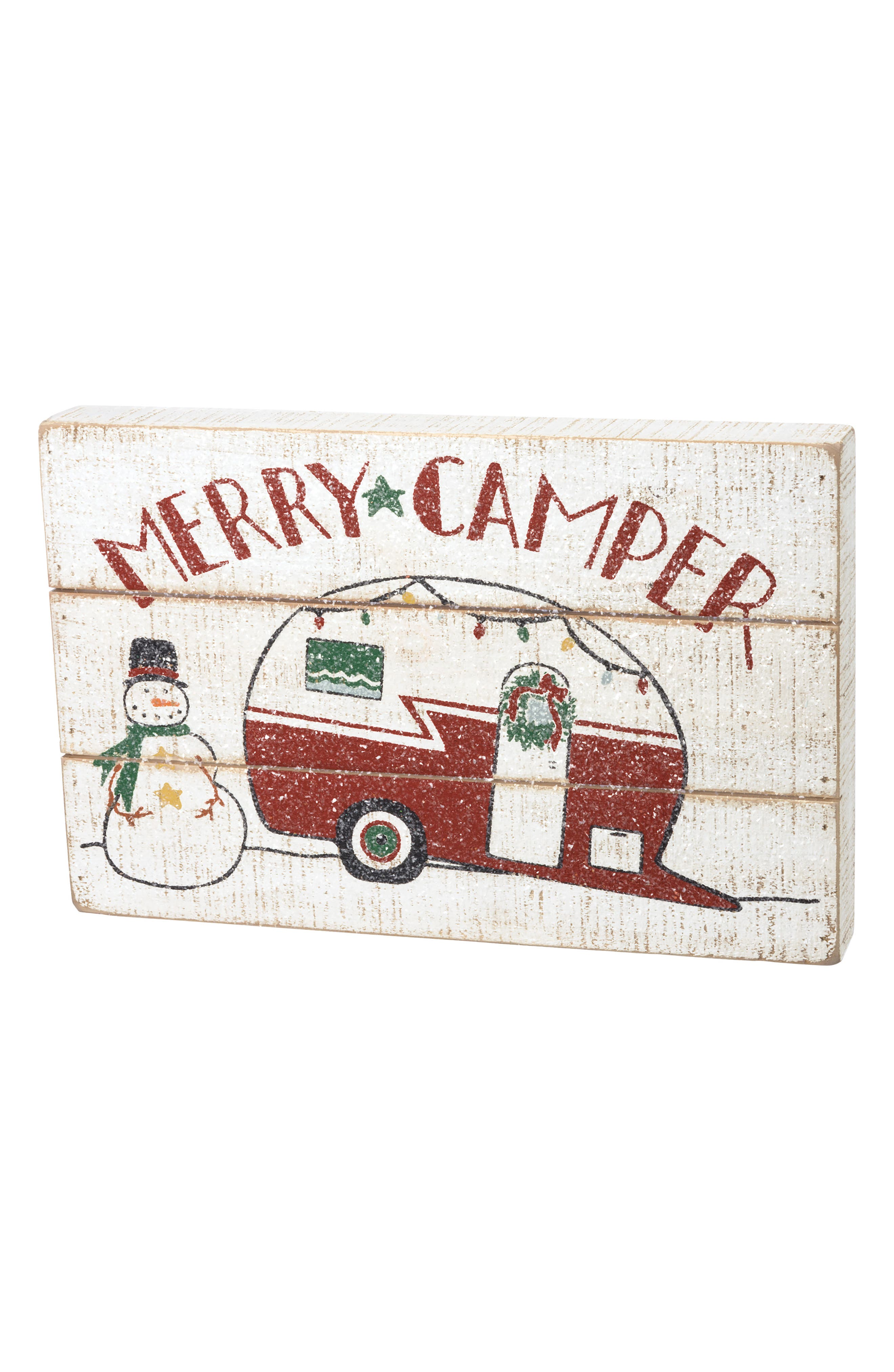 Merry Camper Box Sign,                         Main,                         color, White