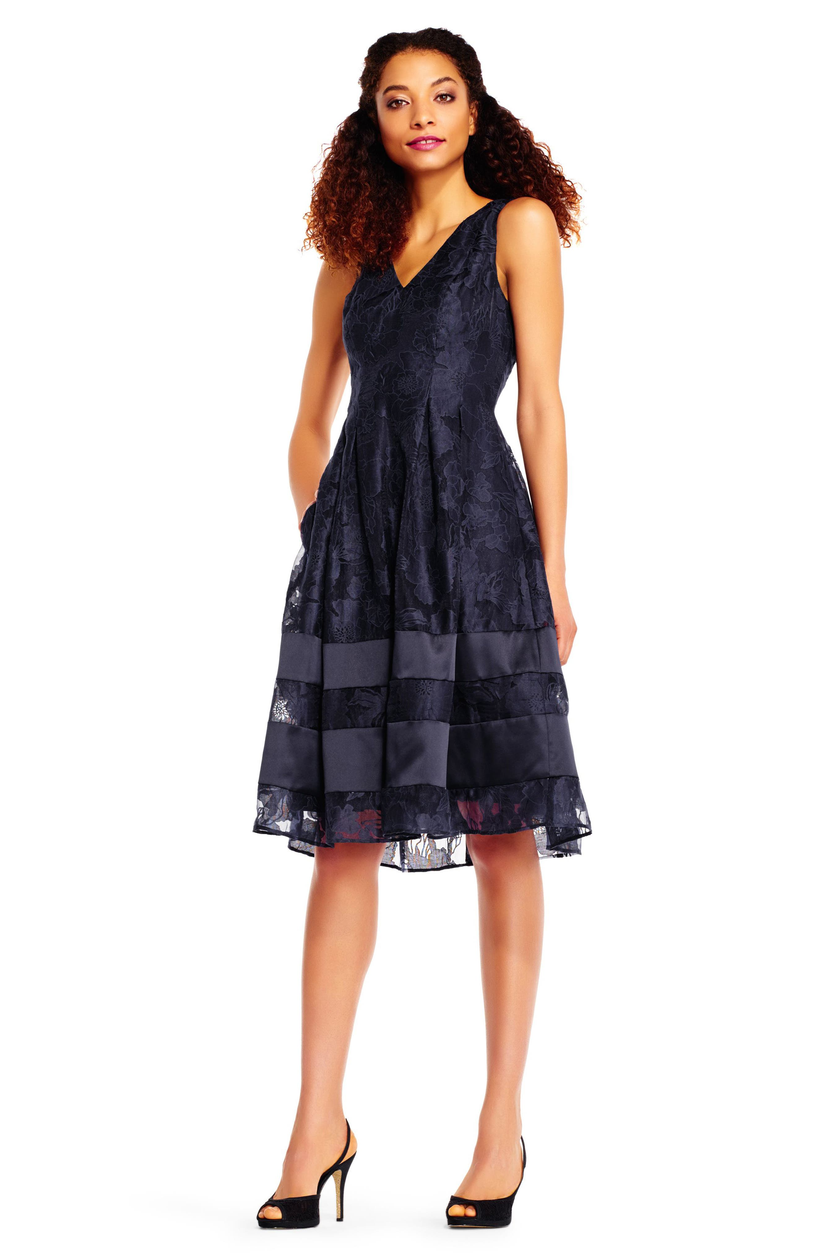 Lace Fit & Flare Dress,                             Alternate thumbnail 2, color,                             Navy/ Black