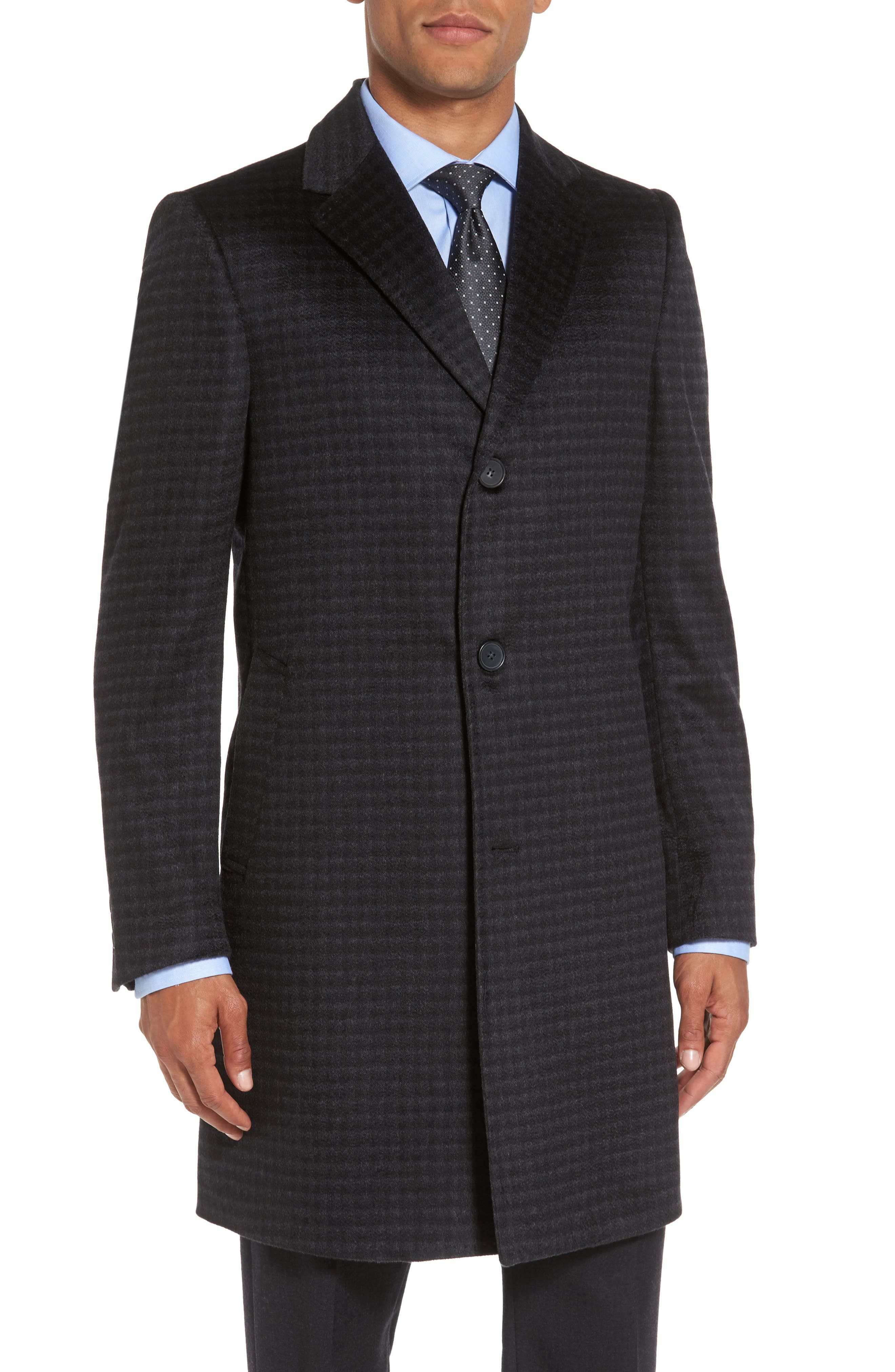 Cameron Check Cashmere Overcoat,                             Main thumbnail 1, color,                             Charcoal