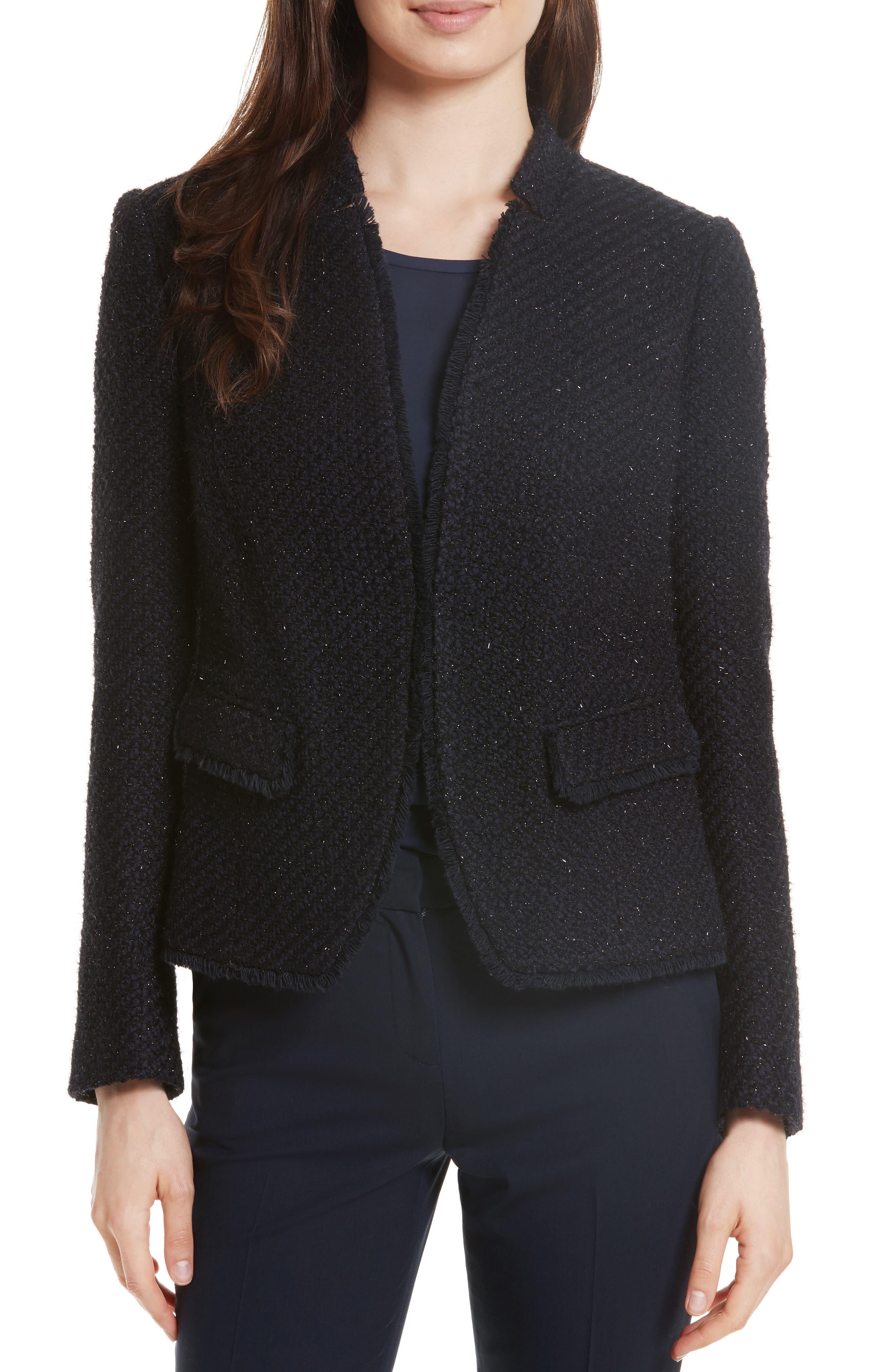 Glitter Tweed Jacket,                             Main thumbnail 1, color,                             Navy