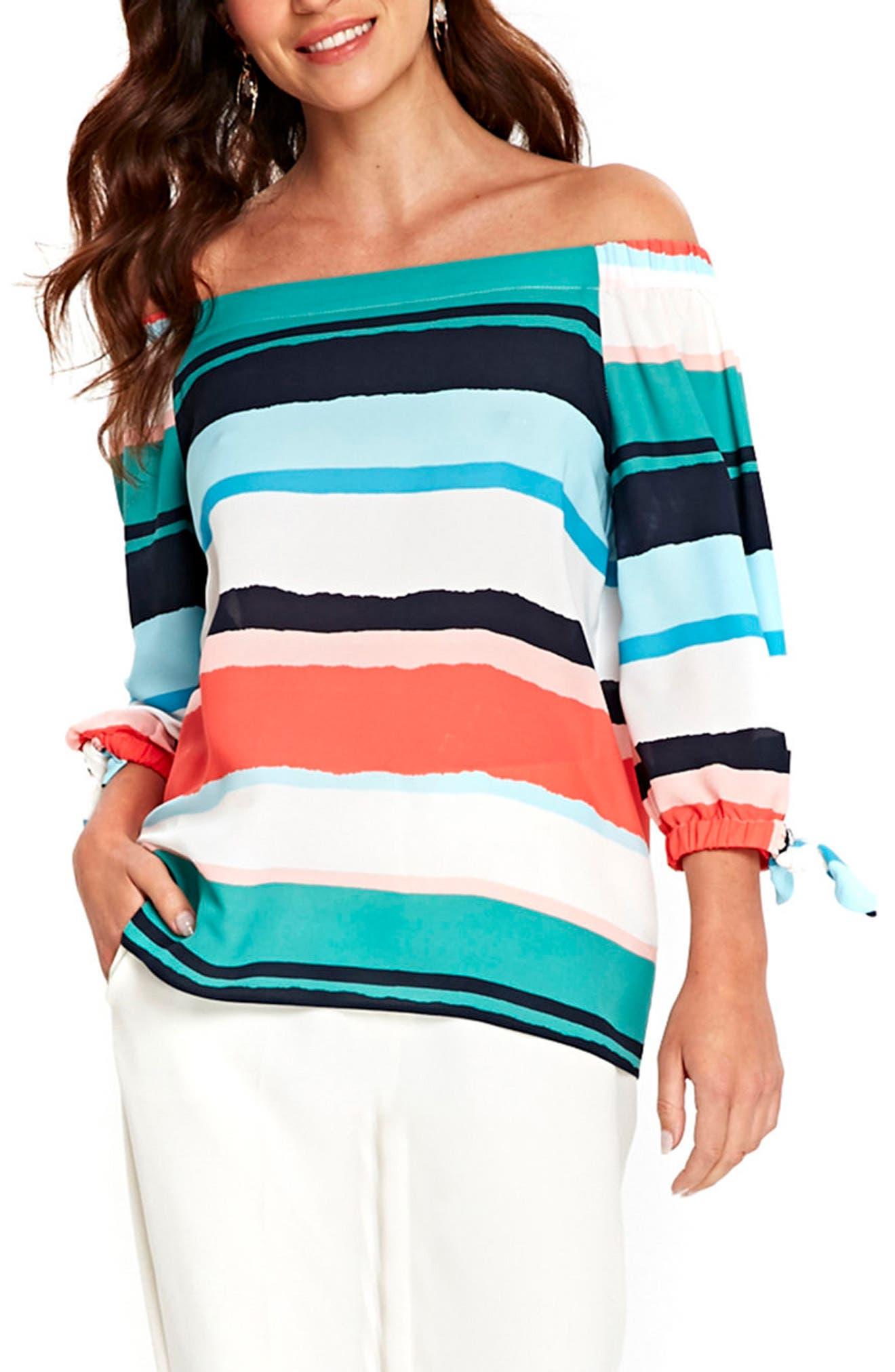 Wallis Painted Stripe Off the Shoulder Top