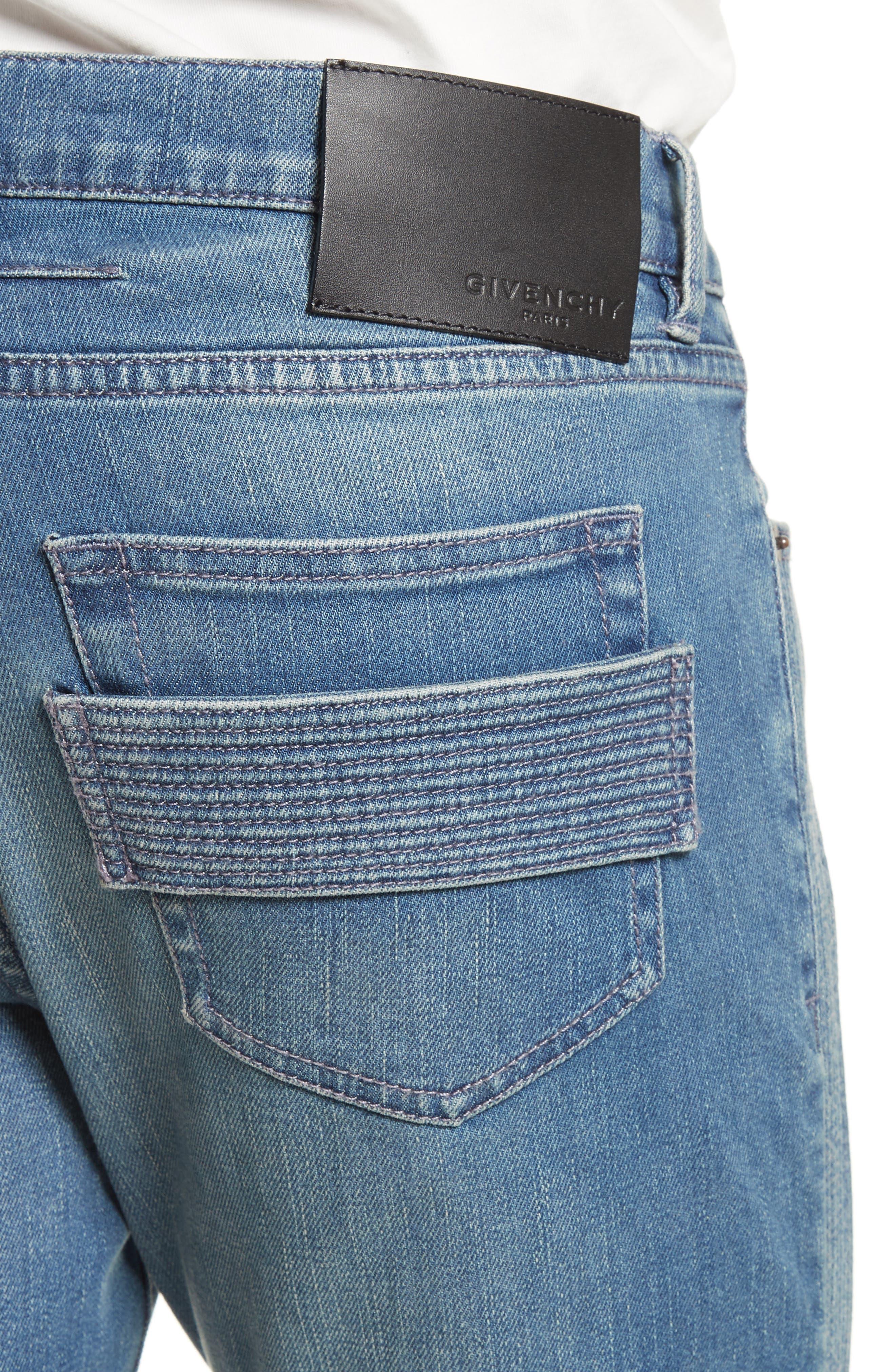 Zip Detail Biker Jeans,                             Alternate thumbnail 4, color,                             Light Blue
