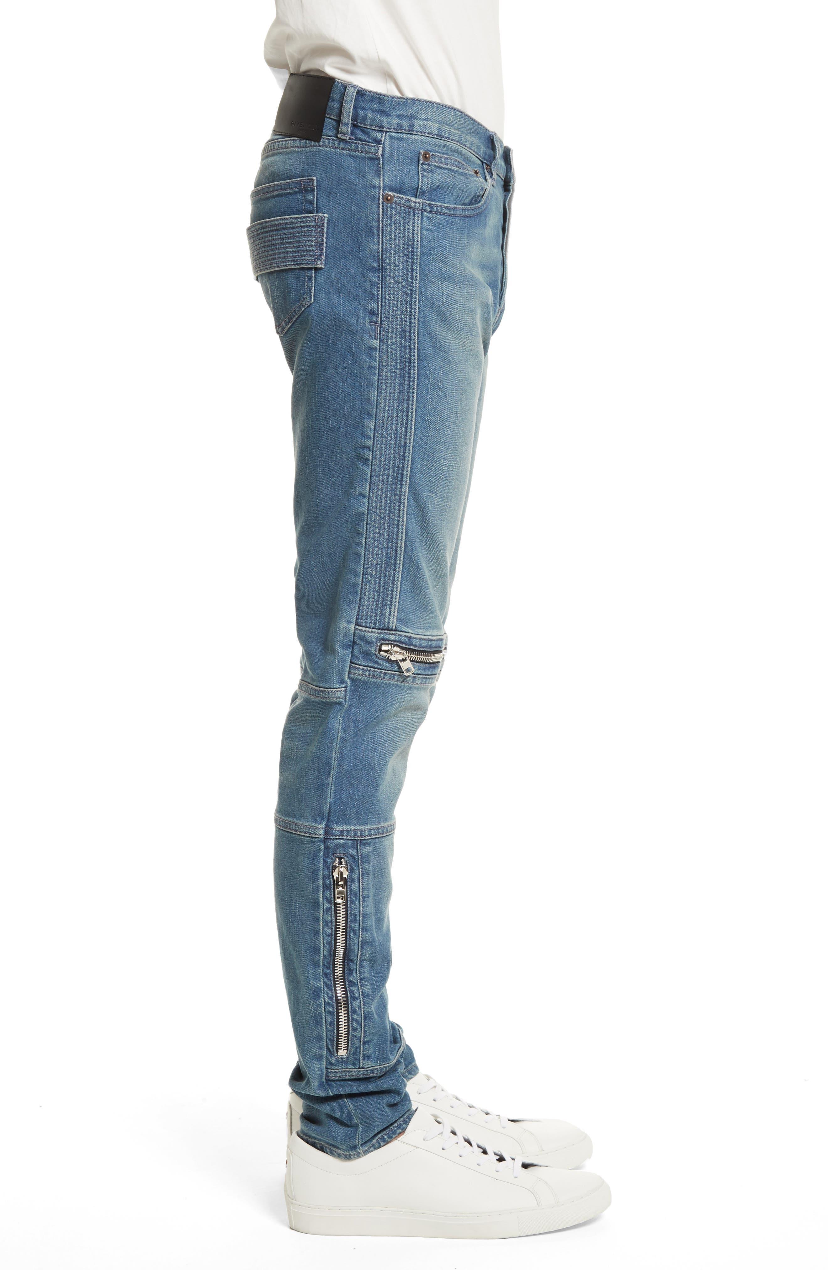 Zip Detail Biker Jeans,                             Alternate thumbnail 3, color,                             Light Blue