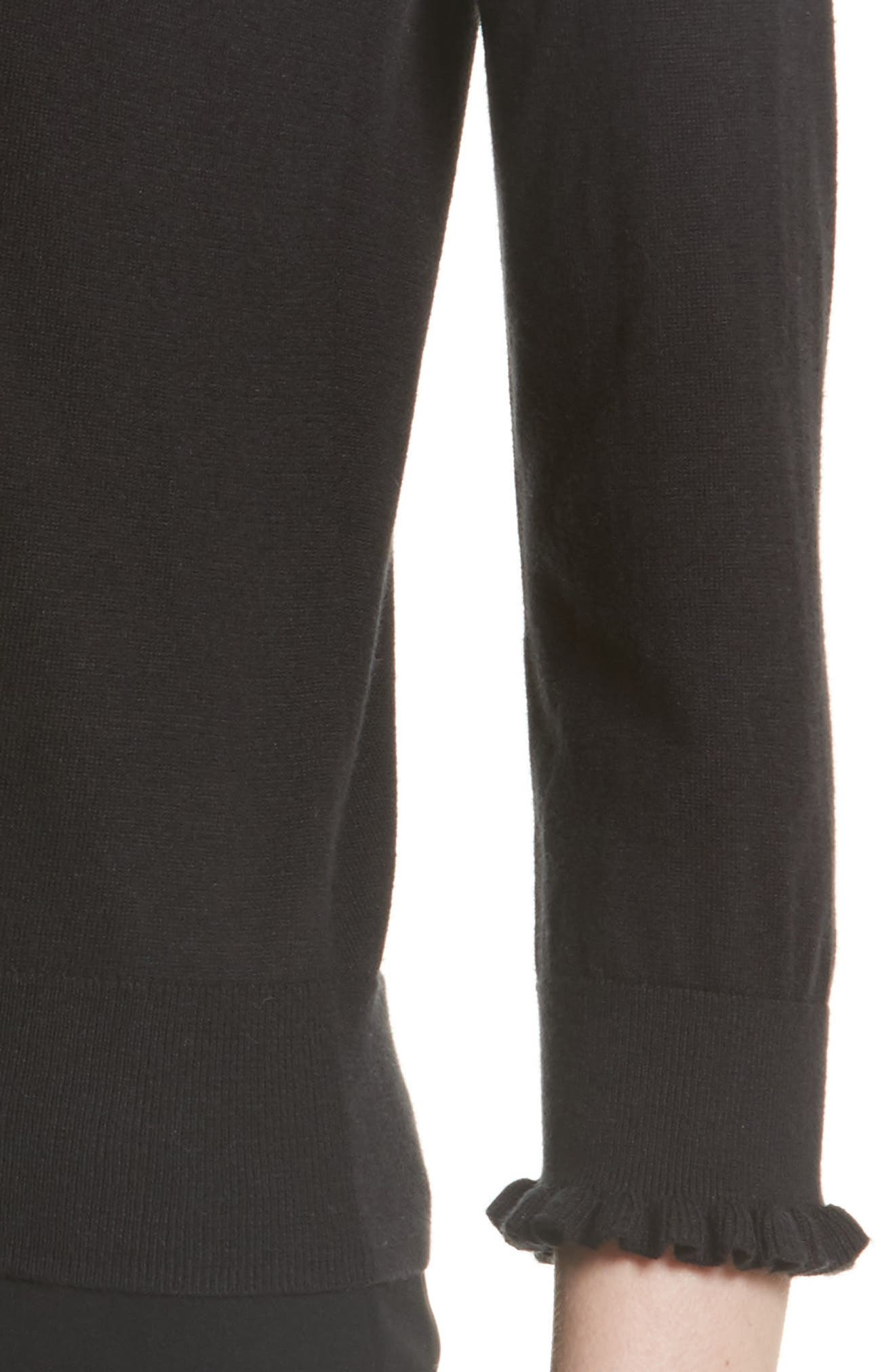 ruffle silk blend sweater,                             Alternate thumbnail 4, color,                             Black