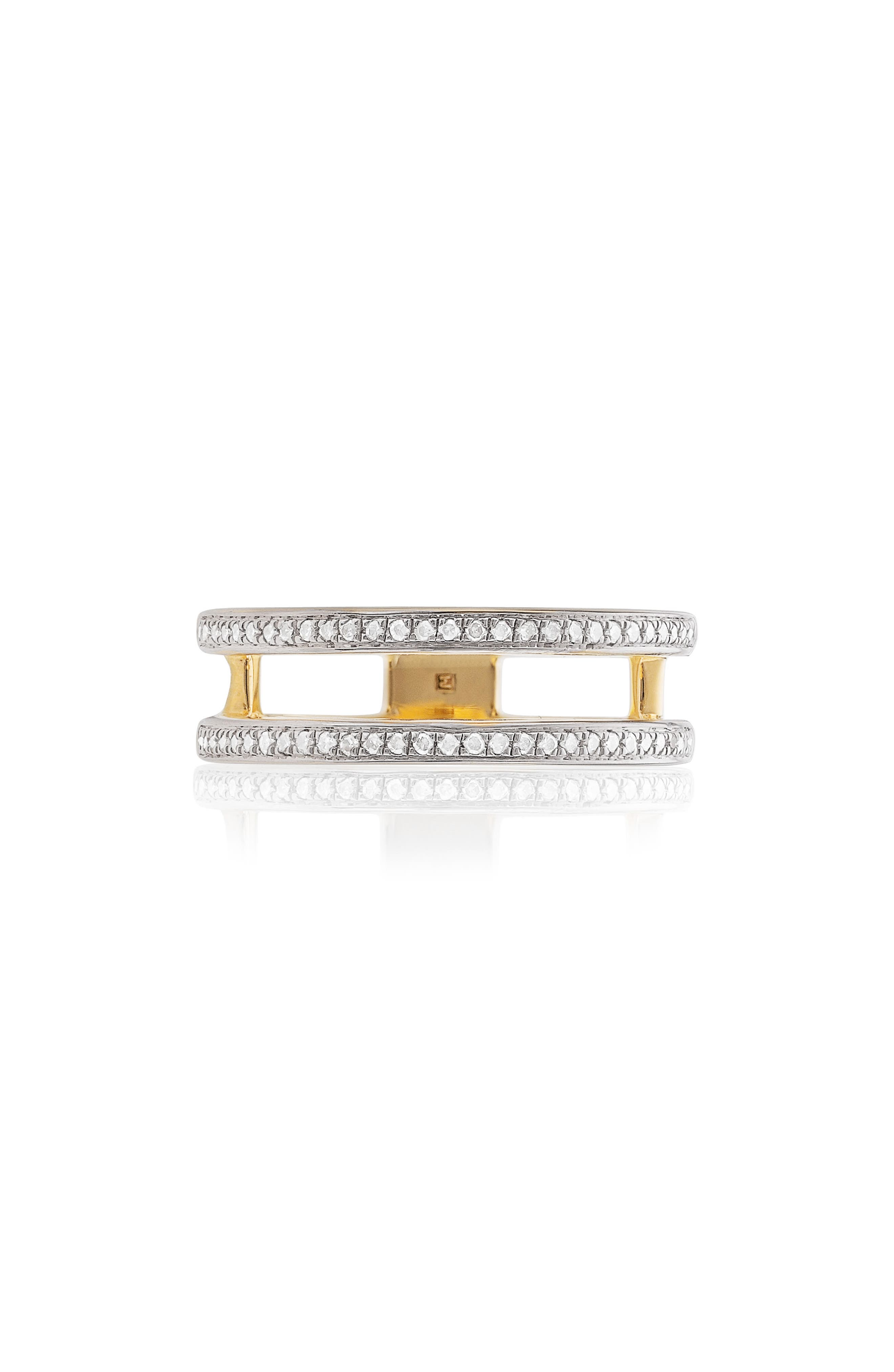 Skinny Double Band Diamond Ring,                             Main thumbnail 1, color,                             Yellow Gold