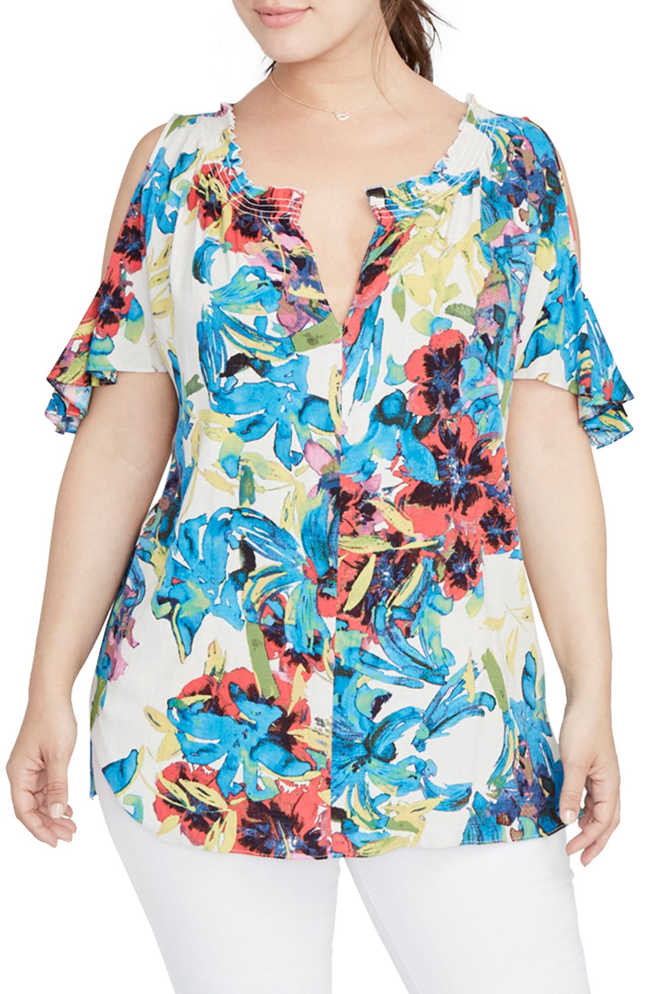 Main Image - RACHEL Rachel Roy Vanessa Cold Shoulder Top (Plus Size)