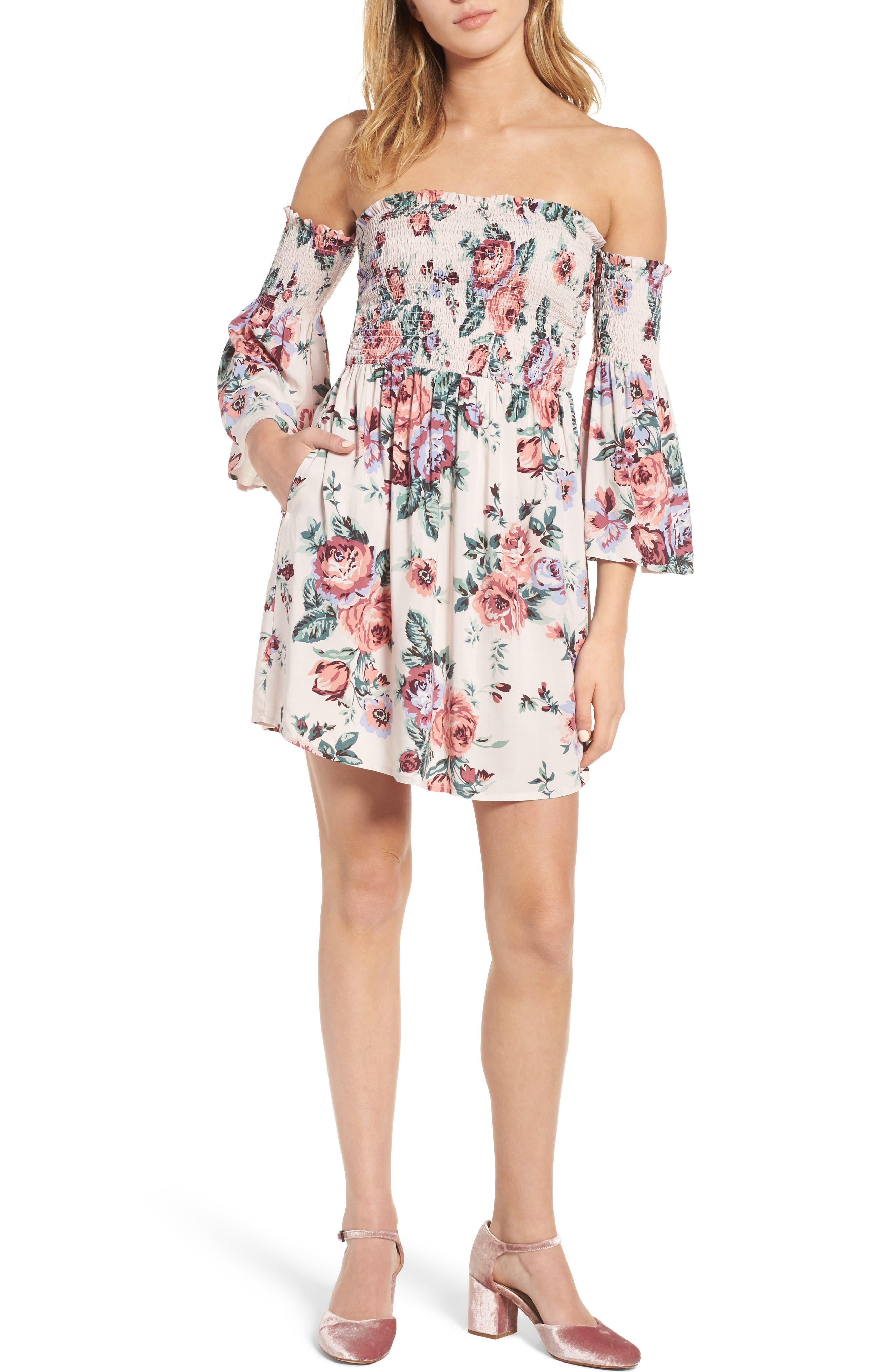 Main Image - Mimi Chica Floral Print Off the Shoulder Dress