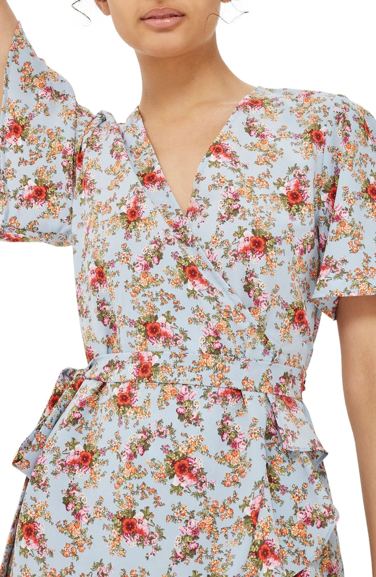 Alternate Image 3  - Topshop Confetti Floral Wrap Tea Dress
