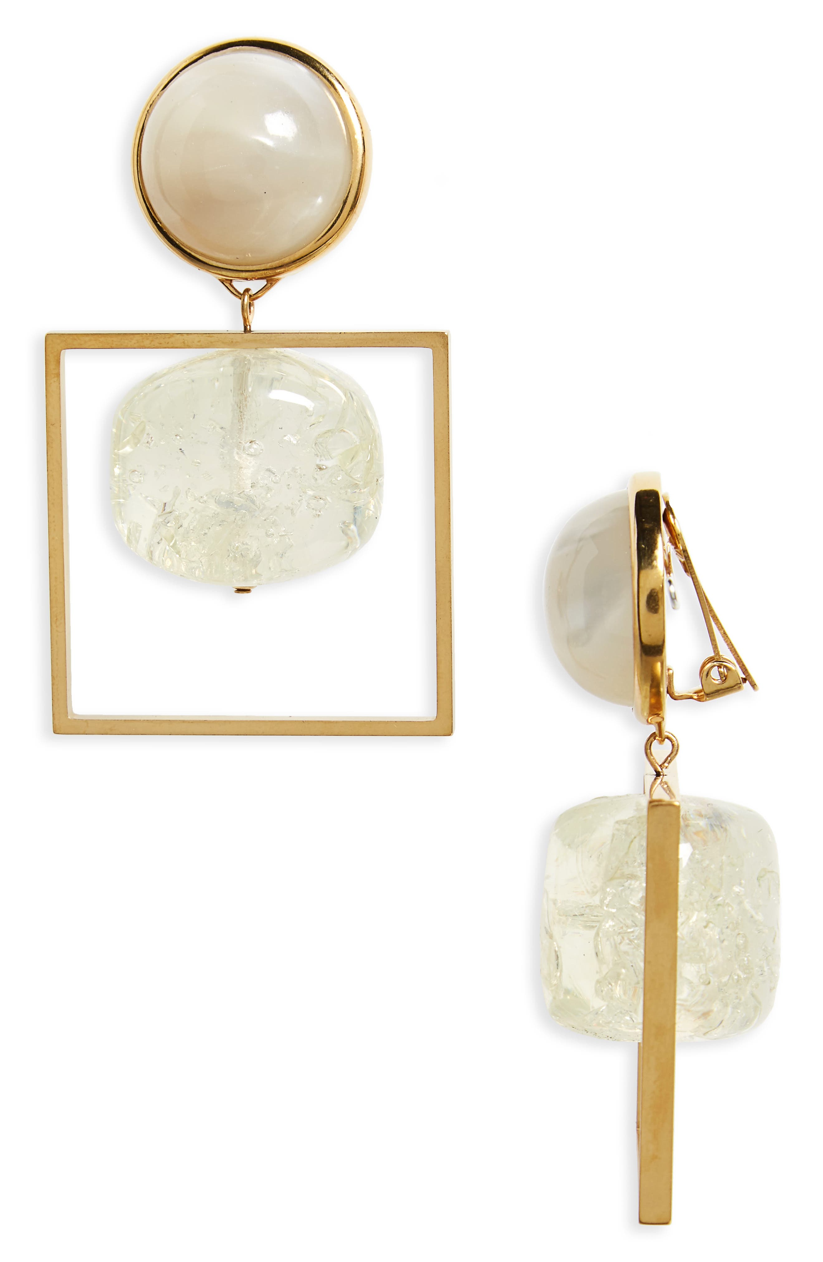 Geo Statement Drop Earrings,                         Main,                         color, Clear / Vintage Gold