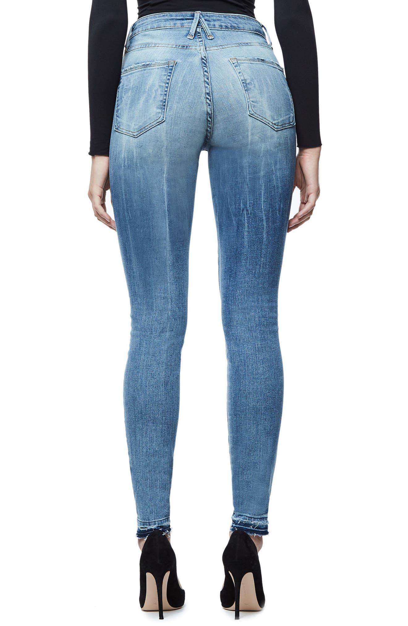 Alternate Image 2  - Good American Good Waist Exposed Zip Skinny Jeans (Blue 075) (Extended Sizes)