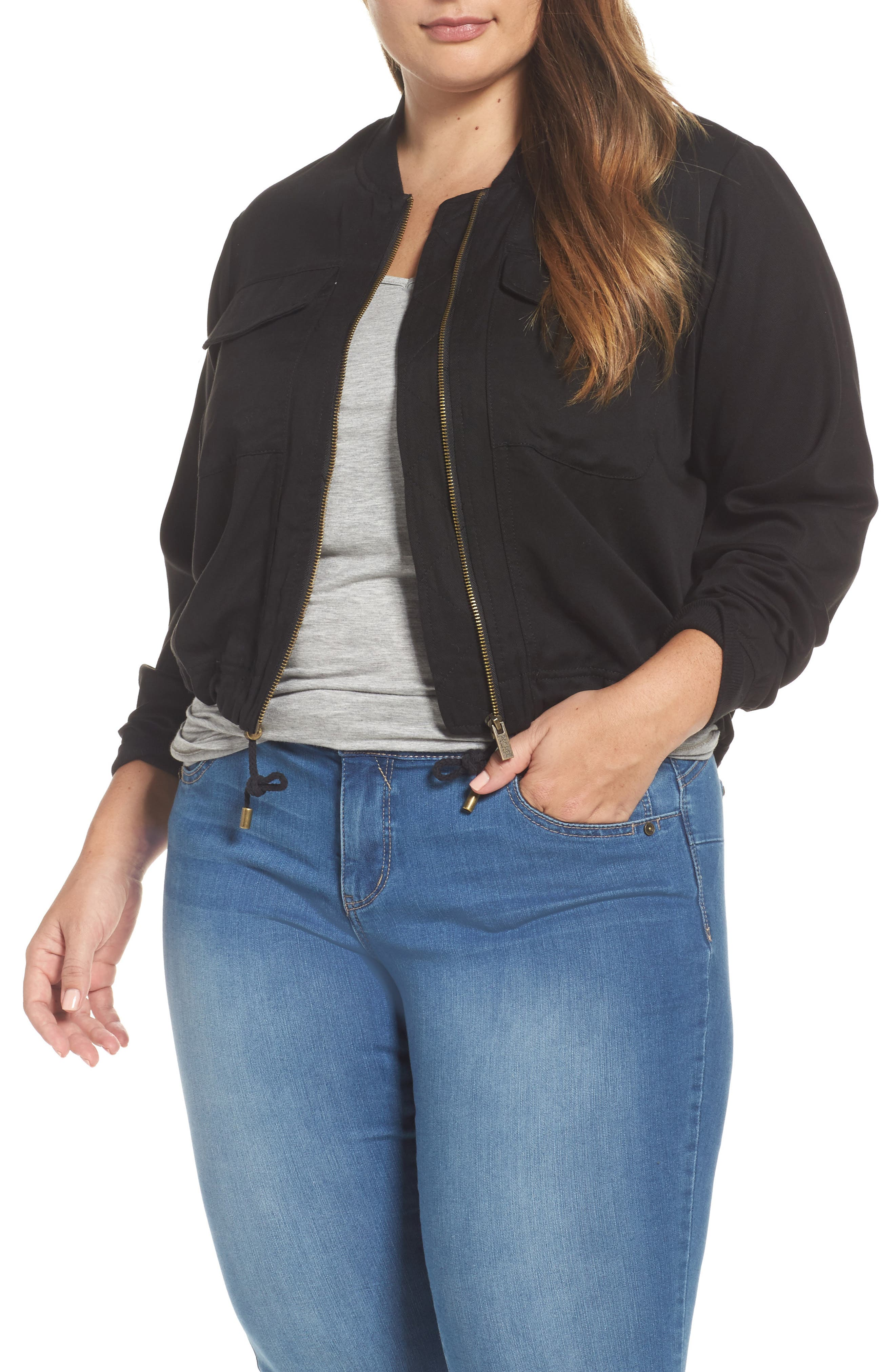 Alternate Image 4  - RACHEL Rachel Roy Drawstring Hem Bomber Jacket (Plus Size)