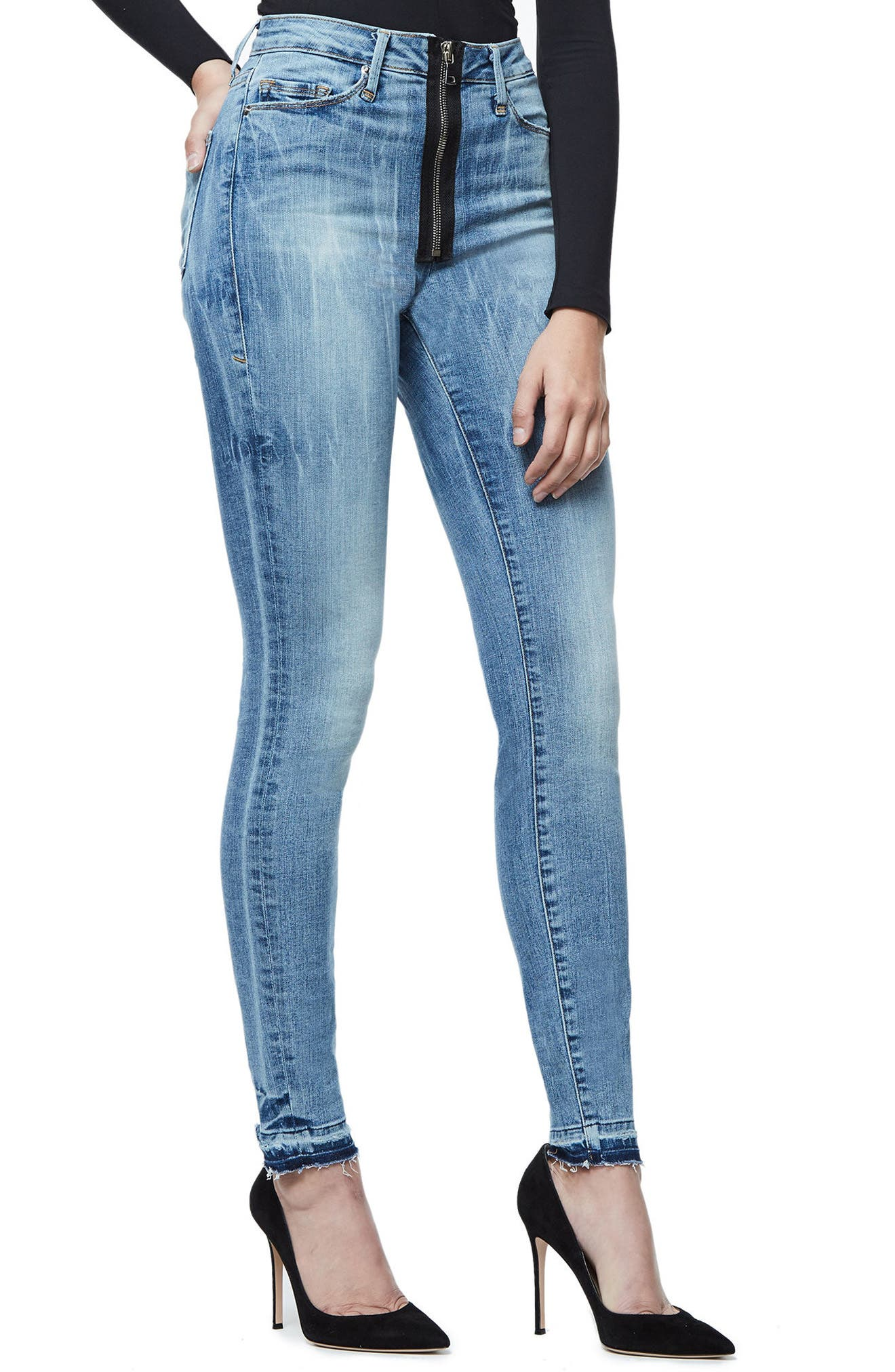 Alternate Image 3  - Good American Good Waist Exposed Zip Skinny Jeans (Blue 075) (Extended Sizes)