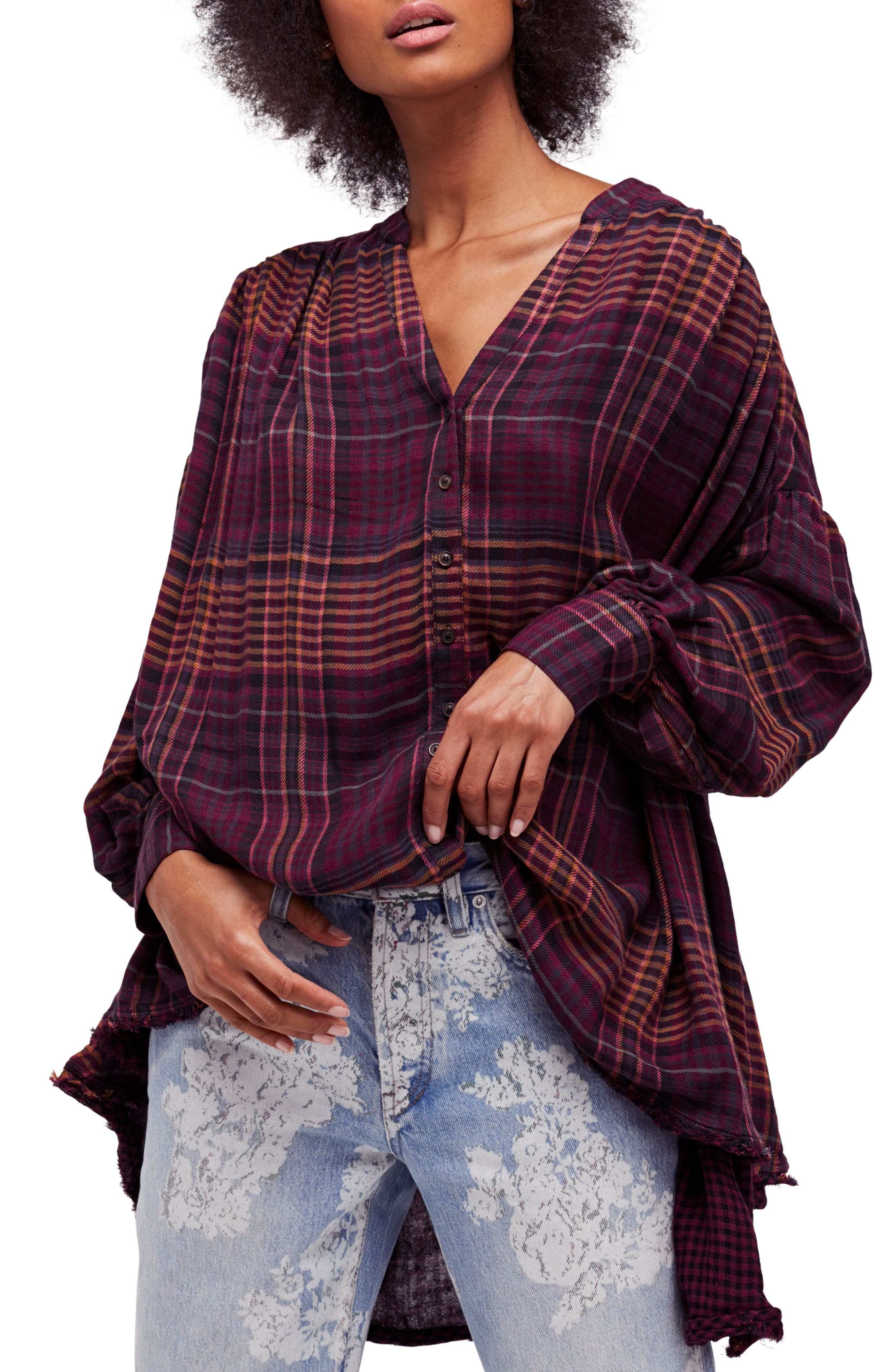 Free People Come on Over Plaid Top