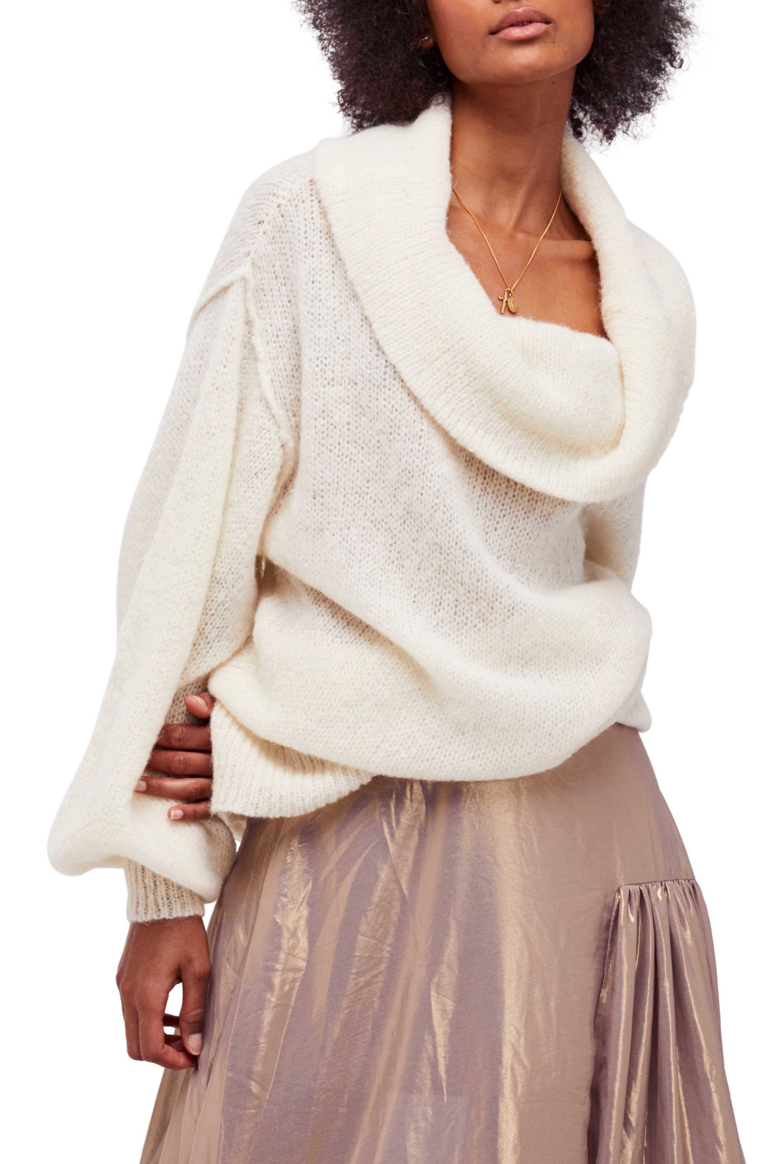 Ophelia Off the Shoulder Sweater,                             Main thumbnail 1, color,                             Ivory