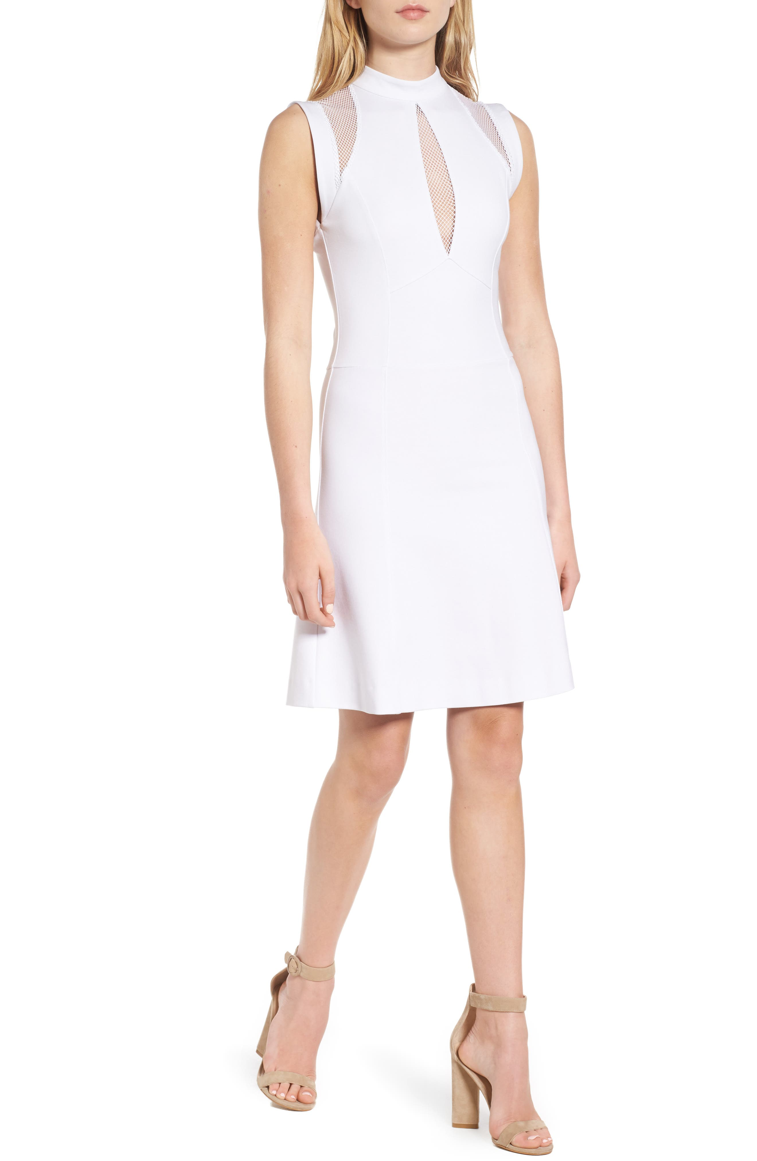 Galactica Fit & Flare Dress,                             Main thumbnail 1, color,                             White
