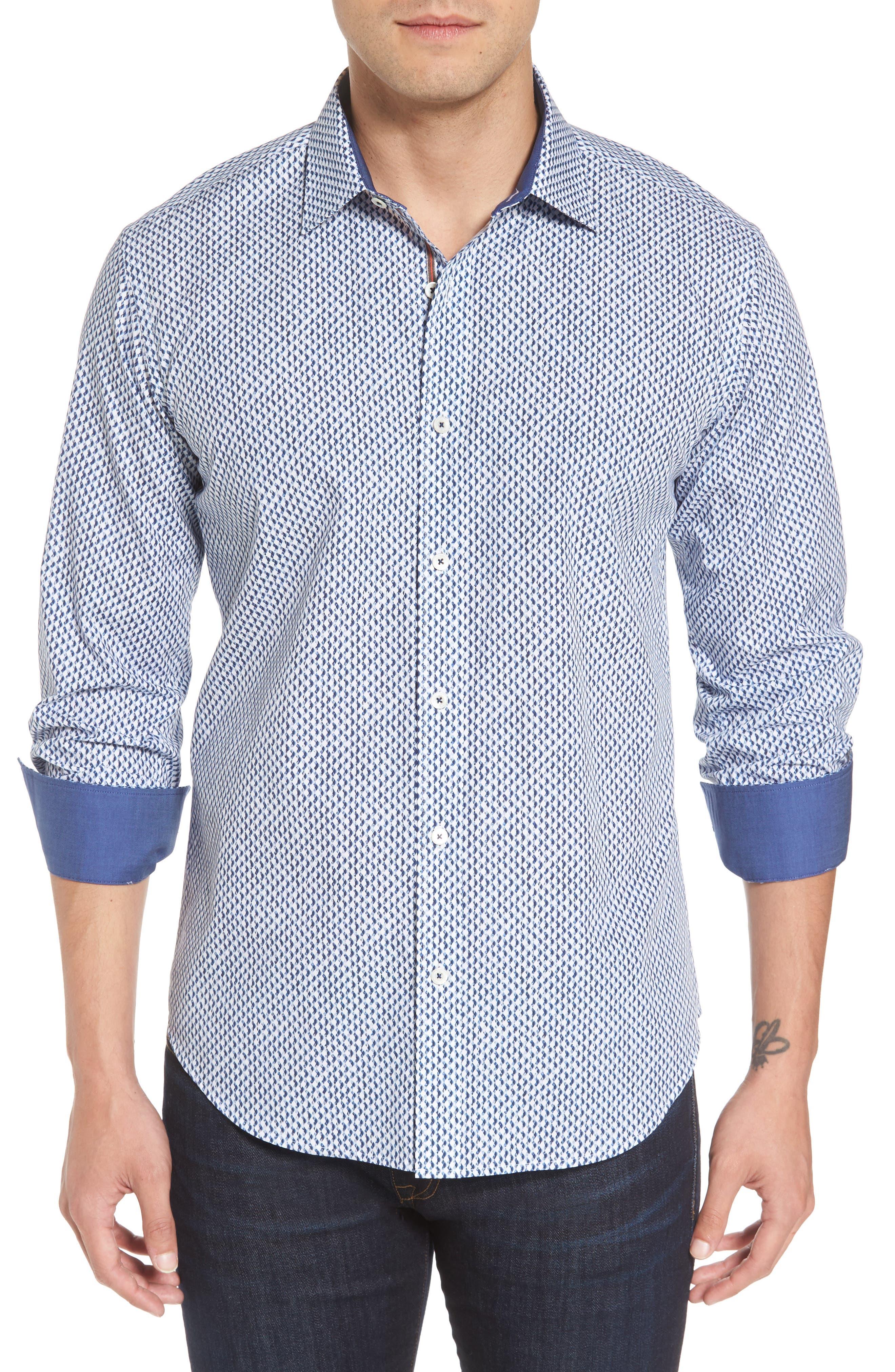 Main Image - Bugatchi Shaped Fit Grid Sport Shirt