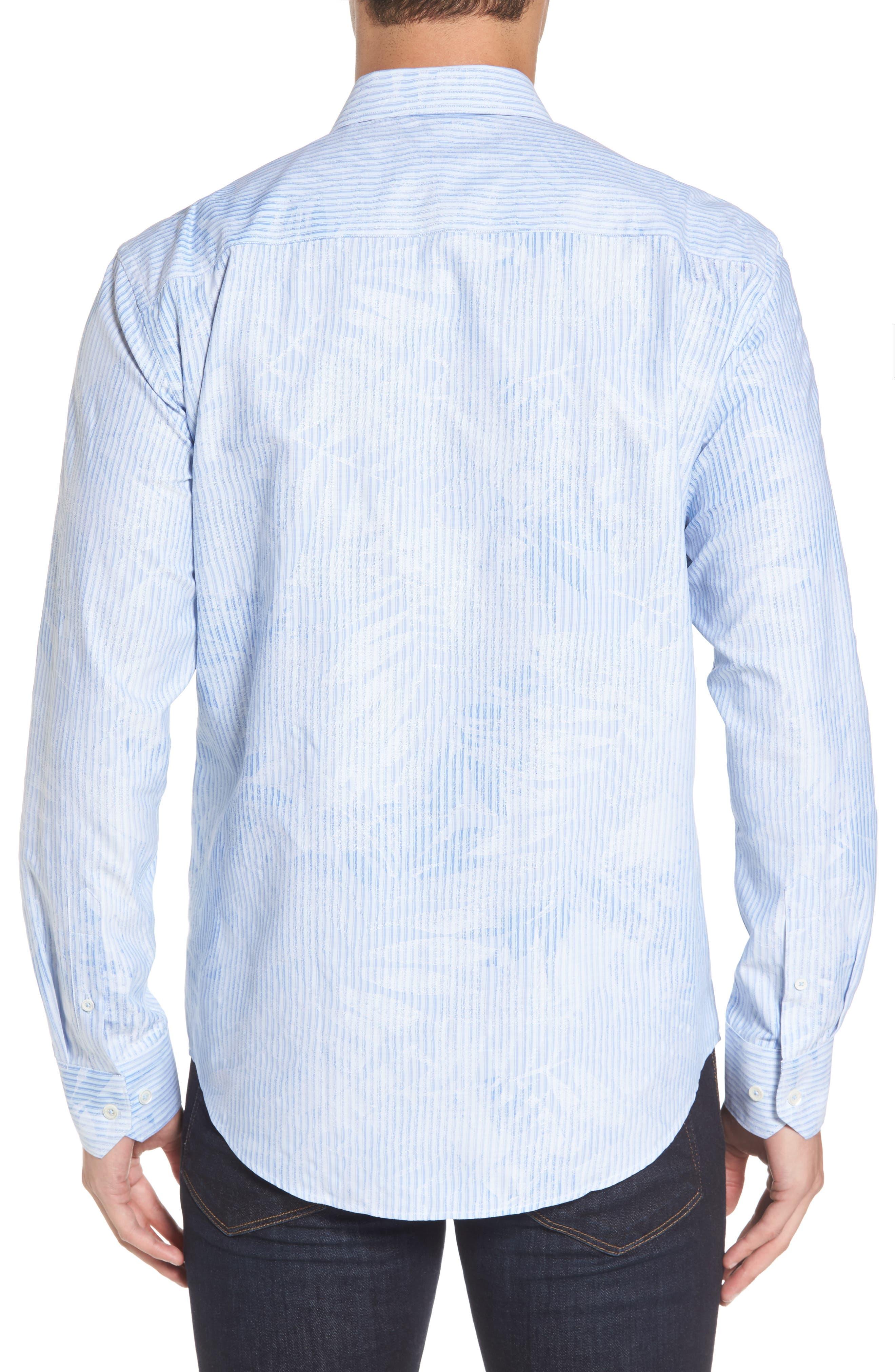 Alternate Image 3  - Bugatchi Shaped Fit Floral Stripe Sport Shirt