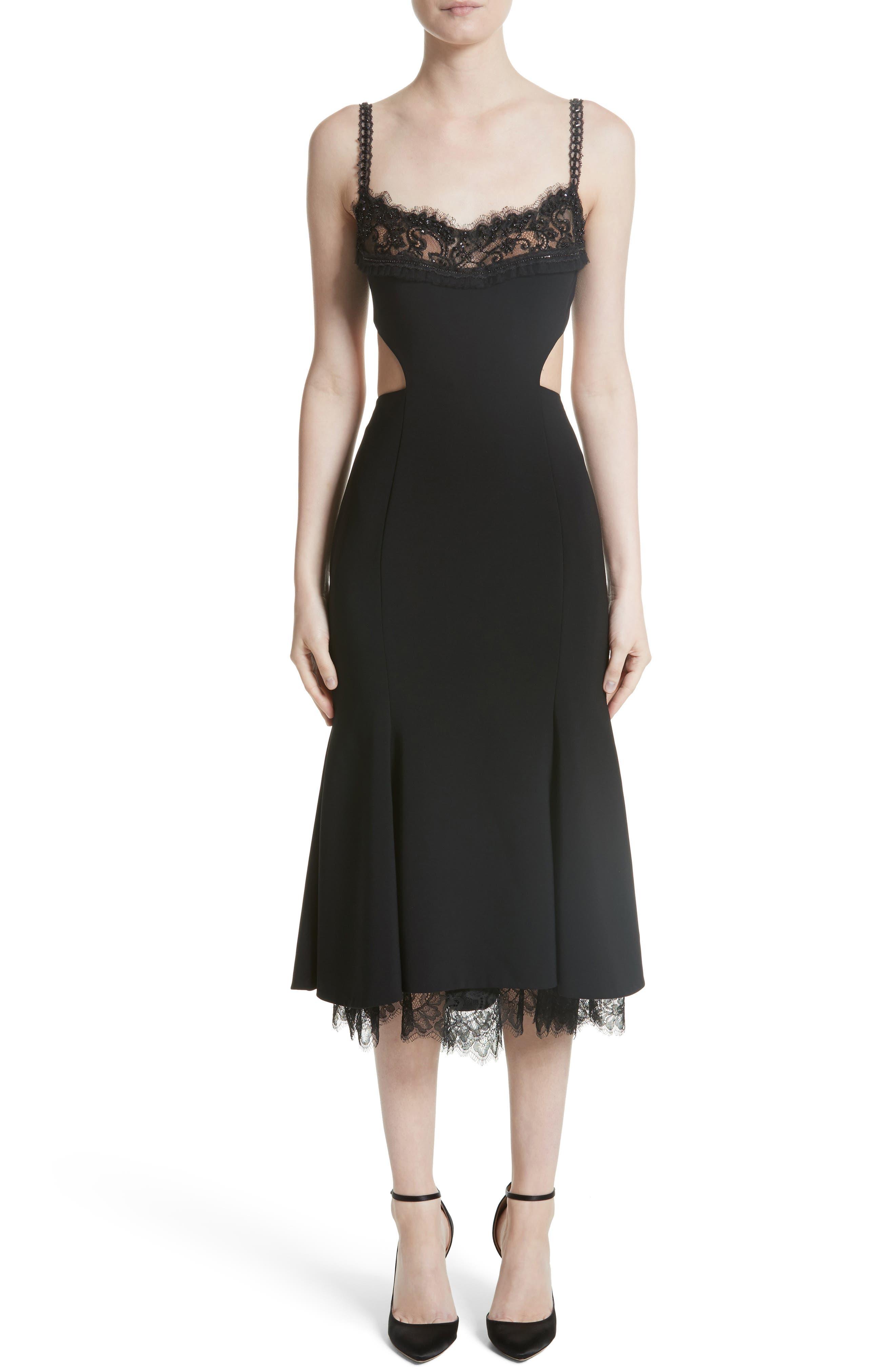 Embellished Fit & Flare Dress,                             Main thumbnail 1, color,                             Black