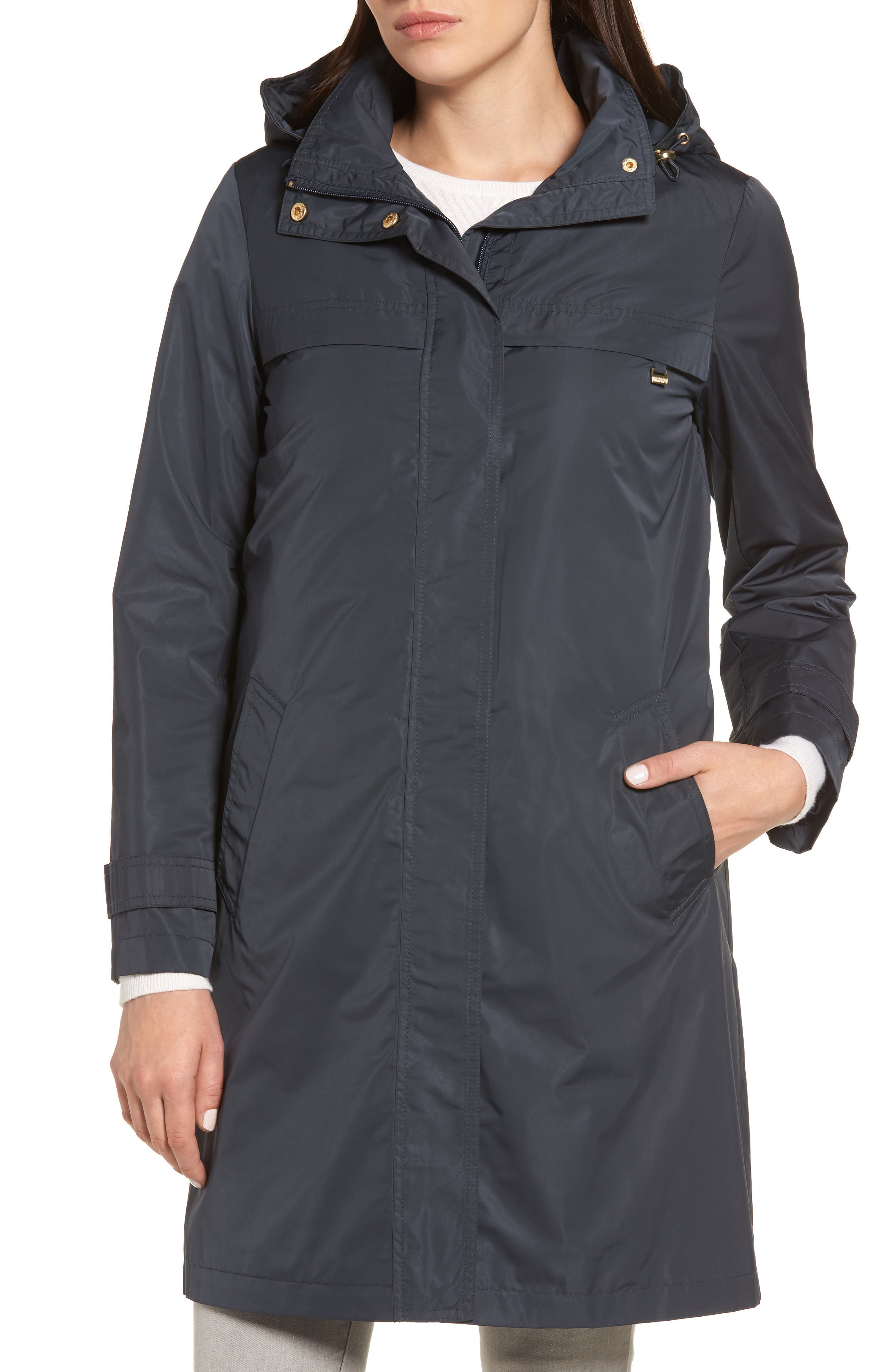 Raincoat with Detachable Hood,                         Main,                         color, Navy