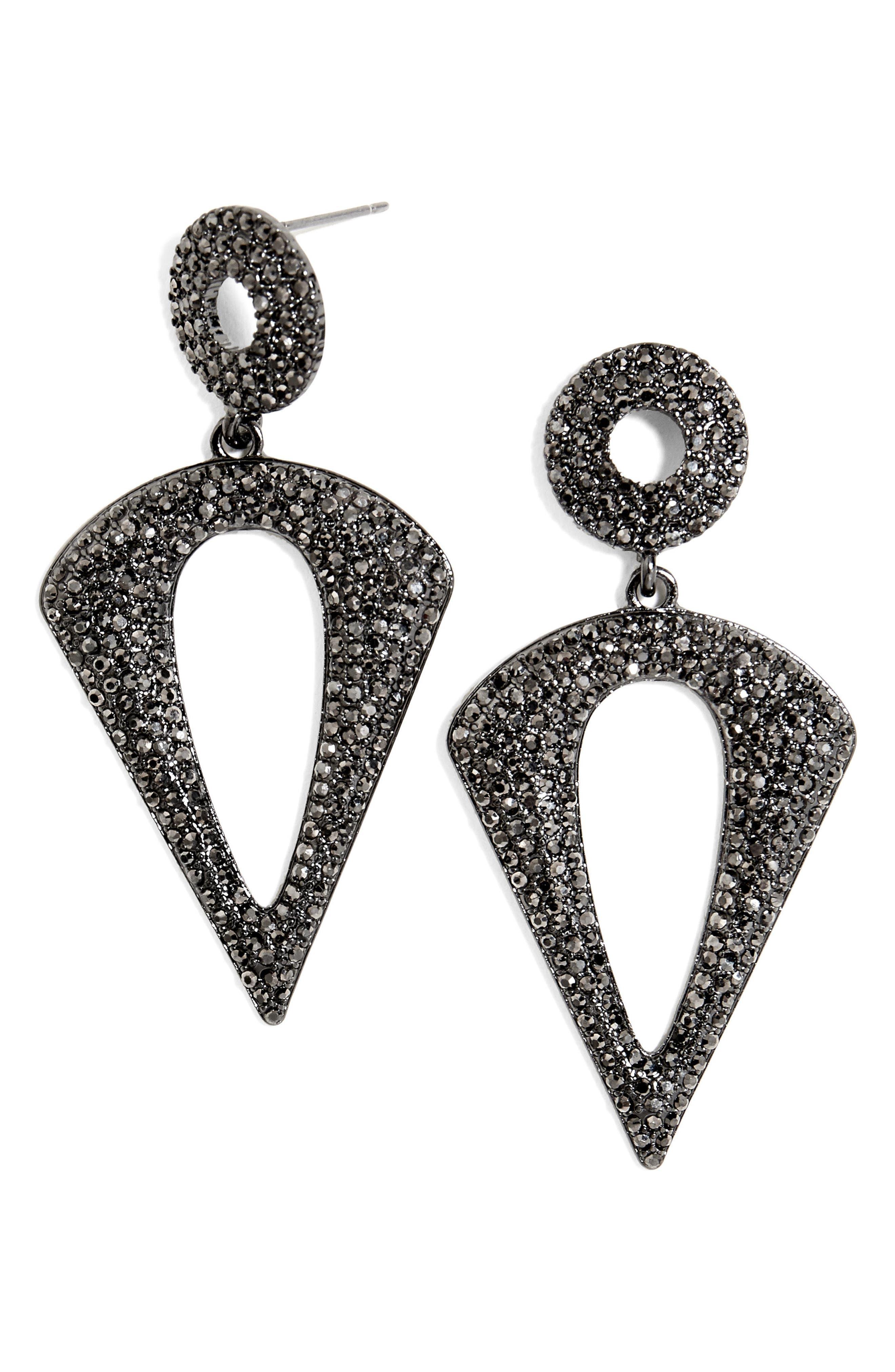 Adonia Drop Earrings,                         Main,                         color, Hematite