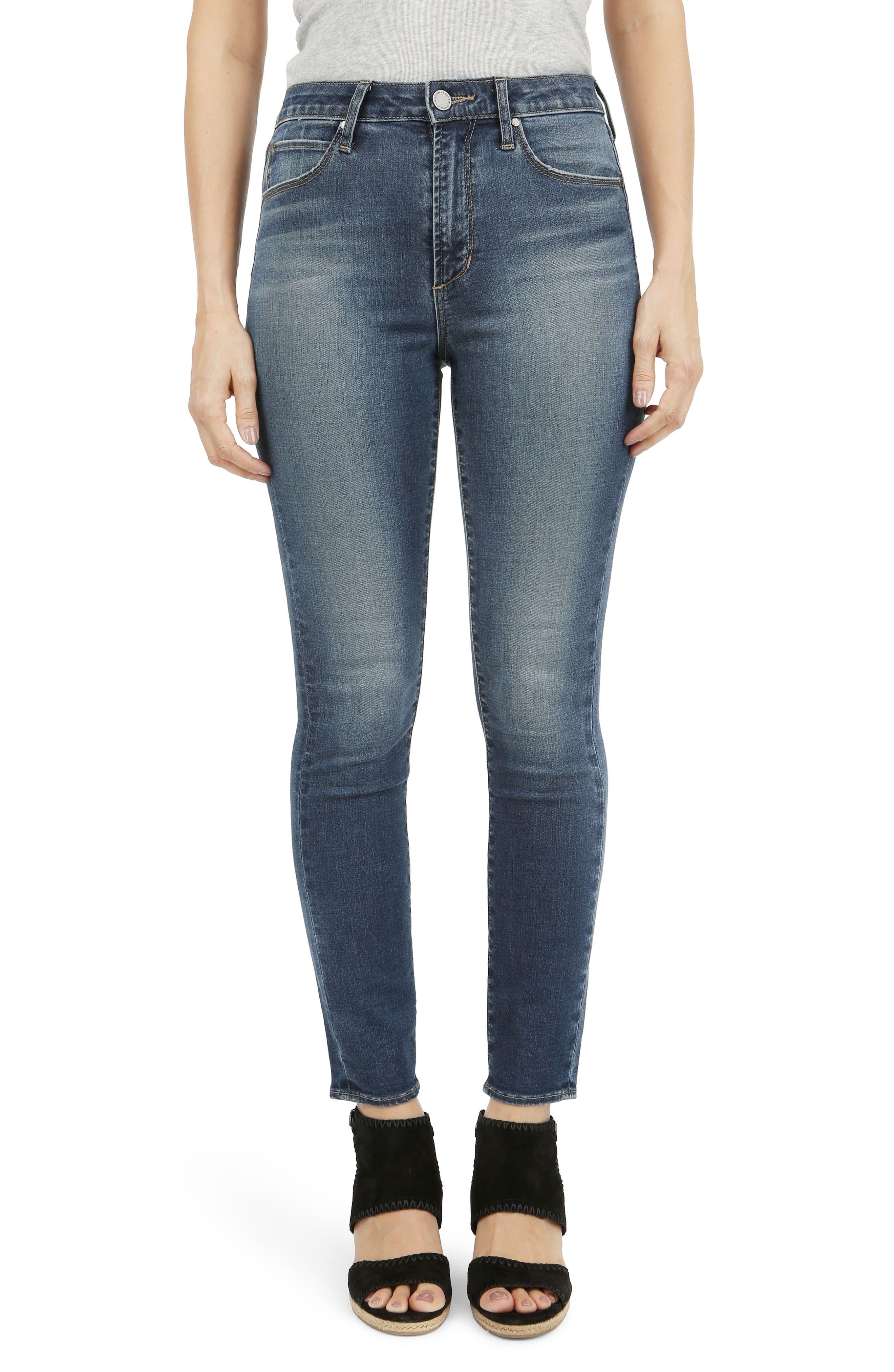 Heather High Waist Skinny Jeans,                         Main,                         color, Worn Blue