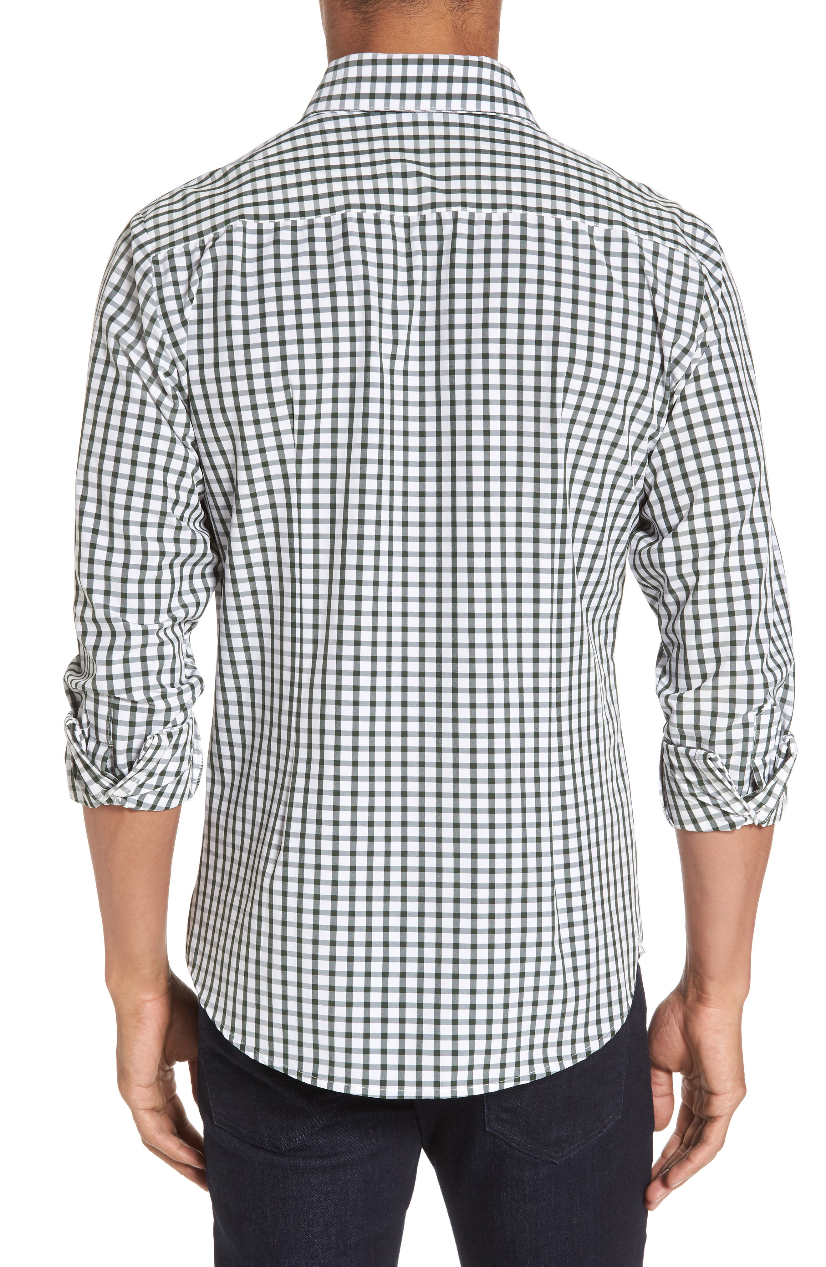 Turner Green Gingham Sport Shirt,                             Alternate thumbnail 3, color,                             Green