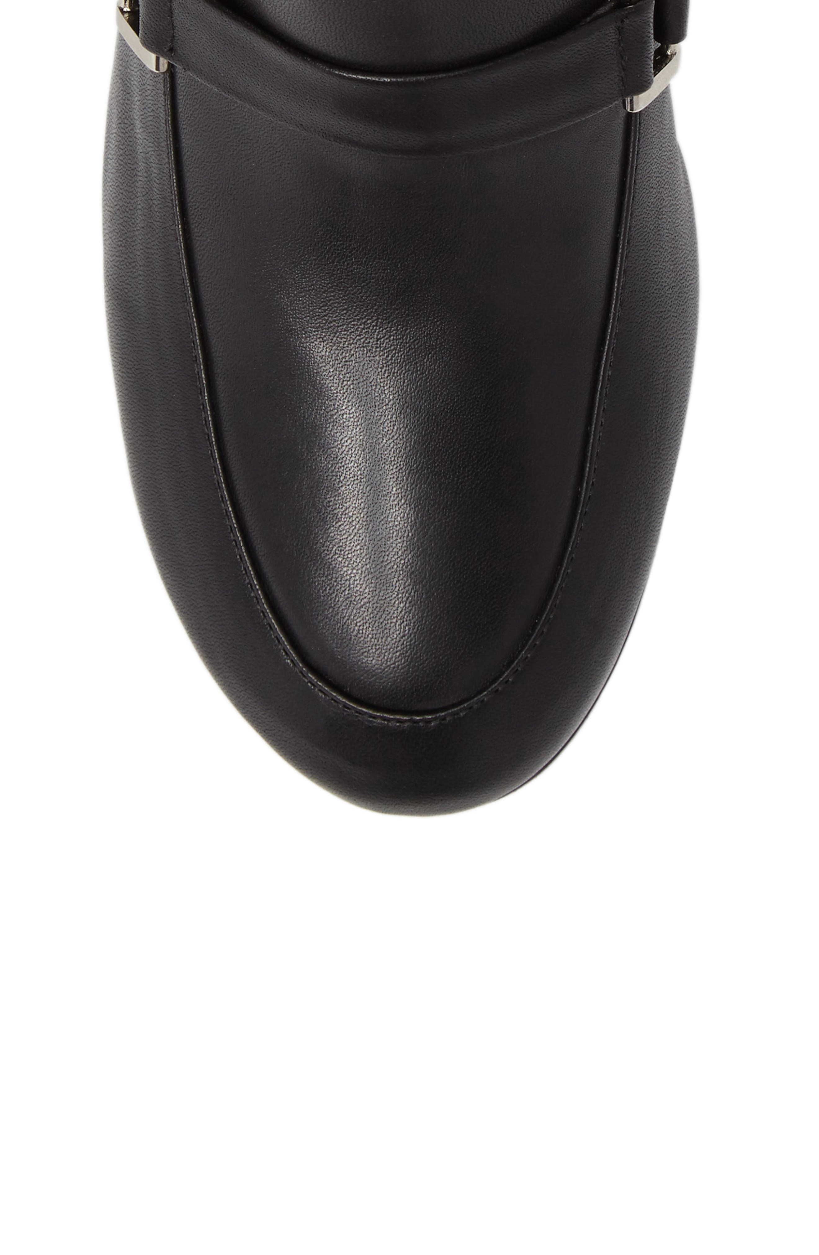 Mod Loafer Bootie,                             Alternate thumbnail 5, color,                             Black Stretch Leather