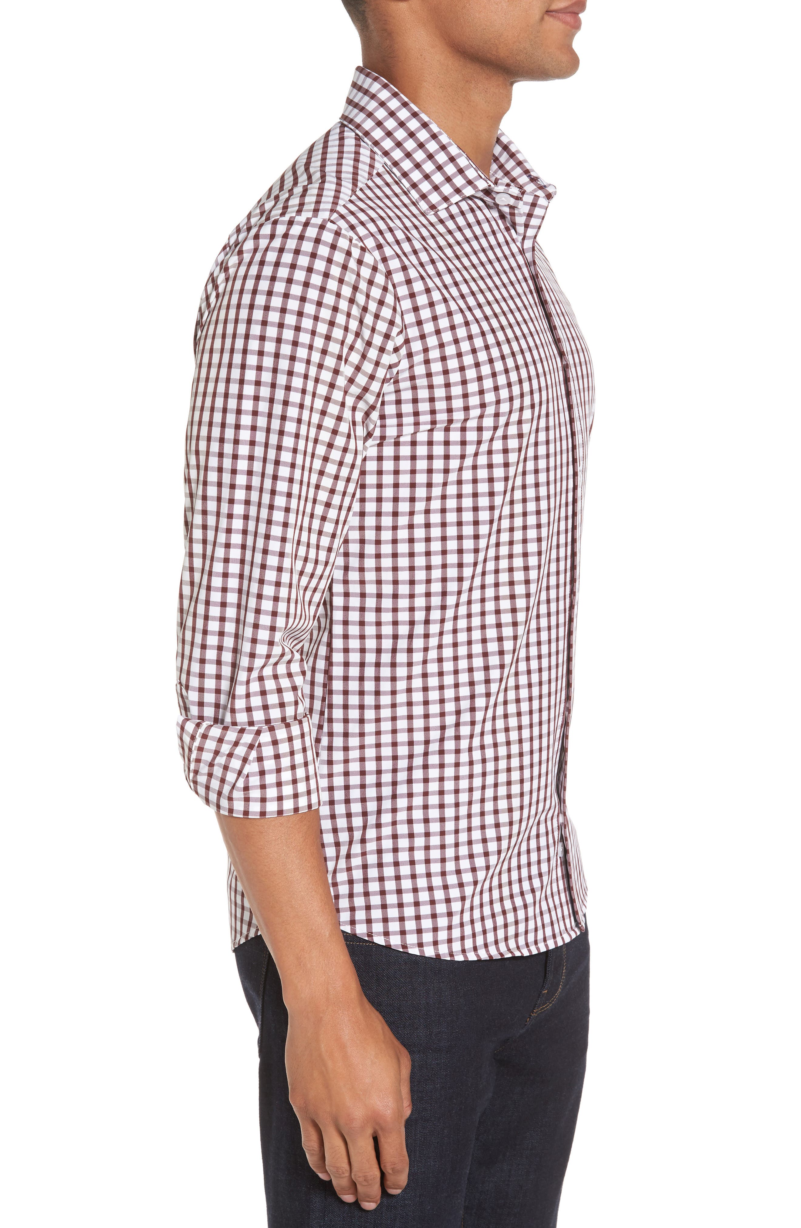 Cooper Check Performance Sport Shirt,                             Alternate thumbnail 3, color,                             Red