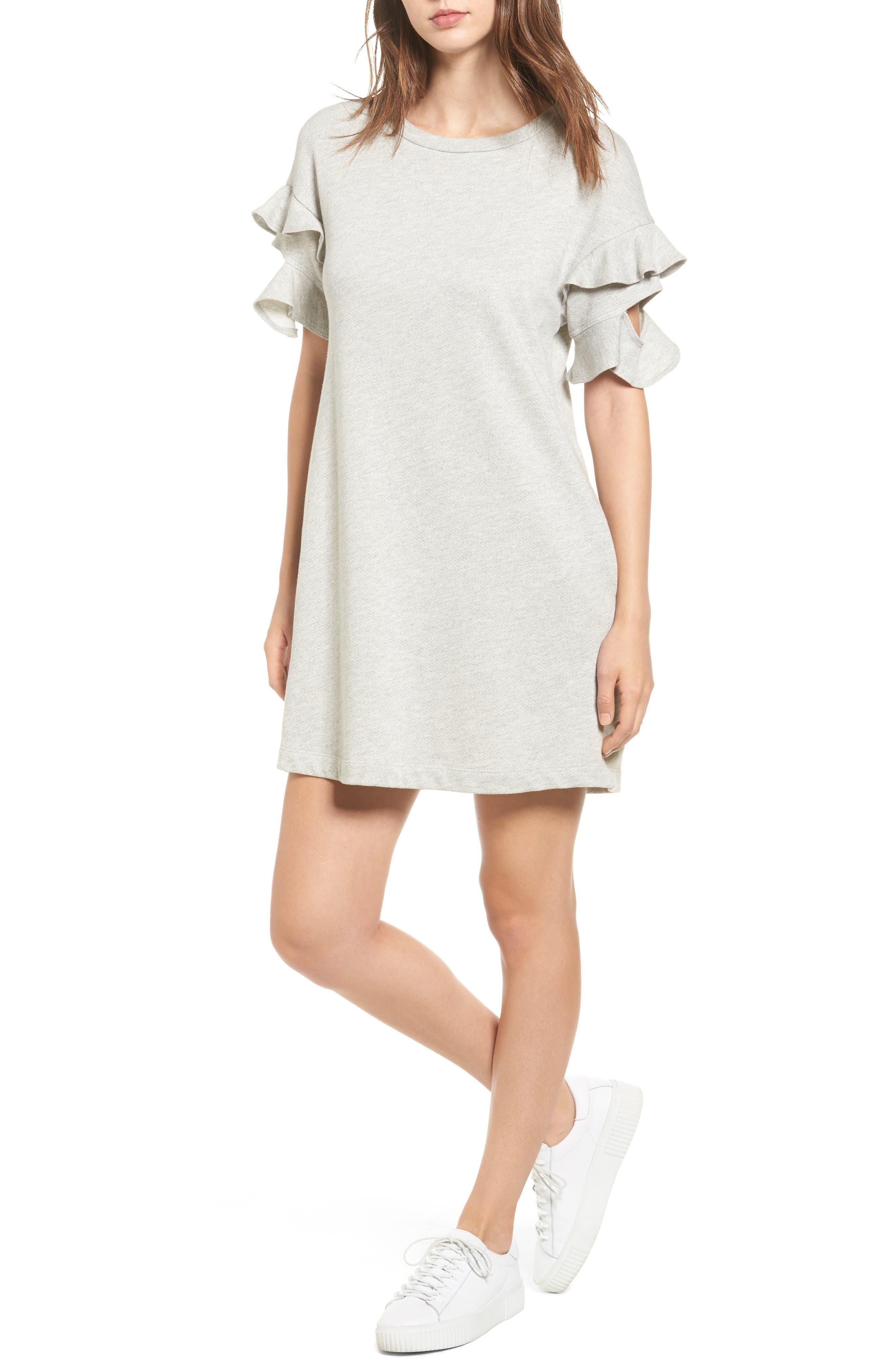 LUSH Ruffle Cutout Sweatshirt Dress