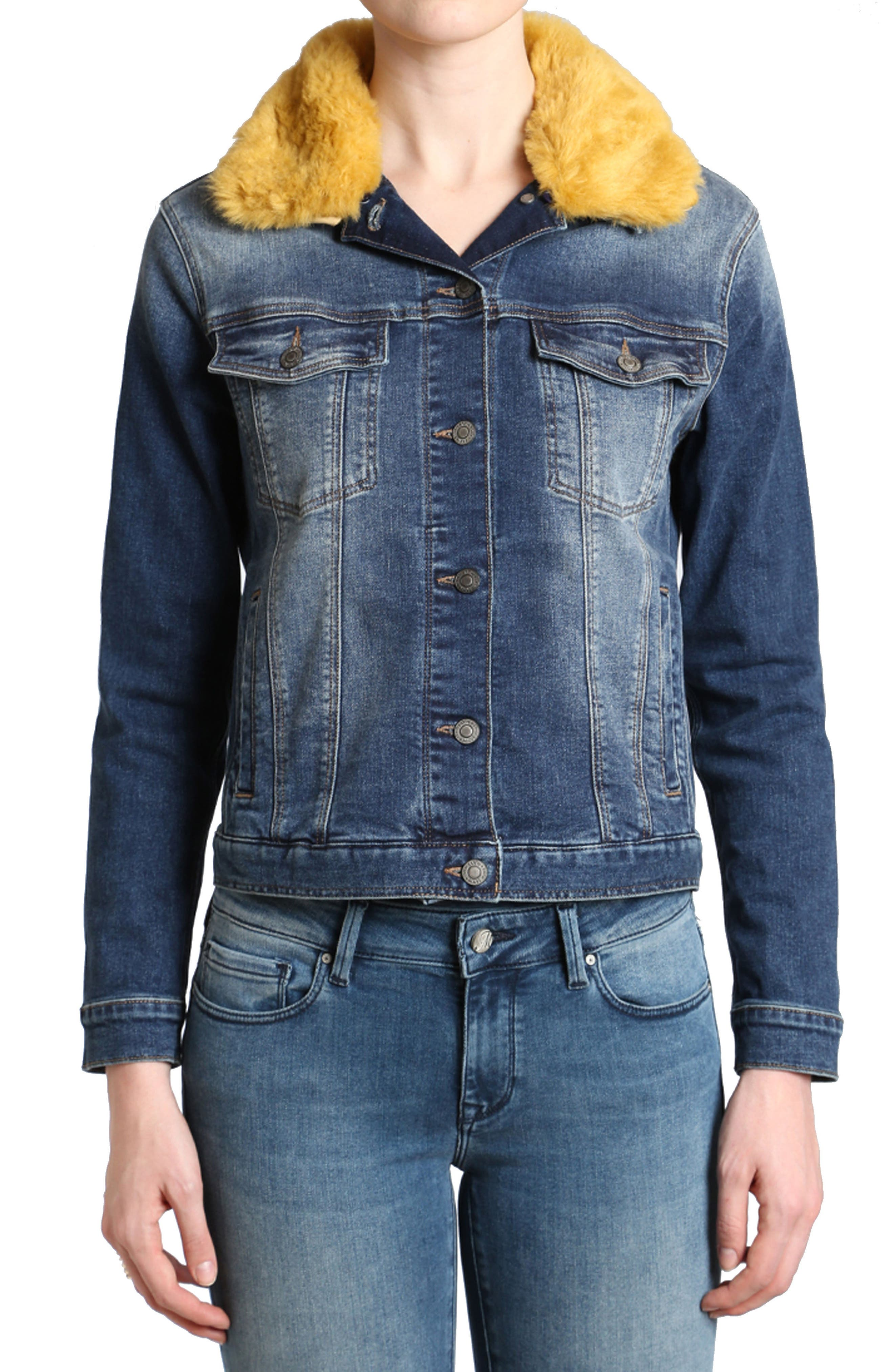 MAVI JEANS Katy Faux Fur Collar Denim Jacket