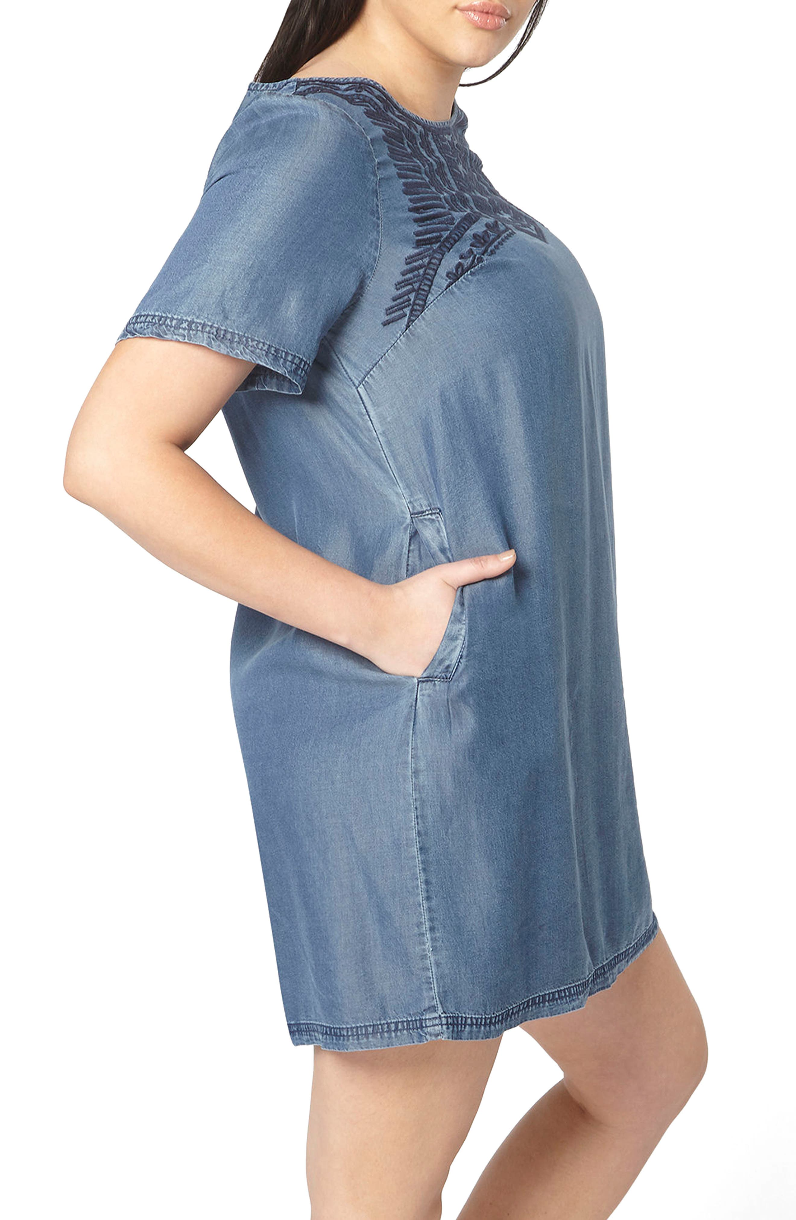 Embroidered Chambray Tunic Dress,                             Alternate thumbnail 3, color,                             Blue