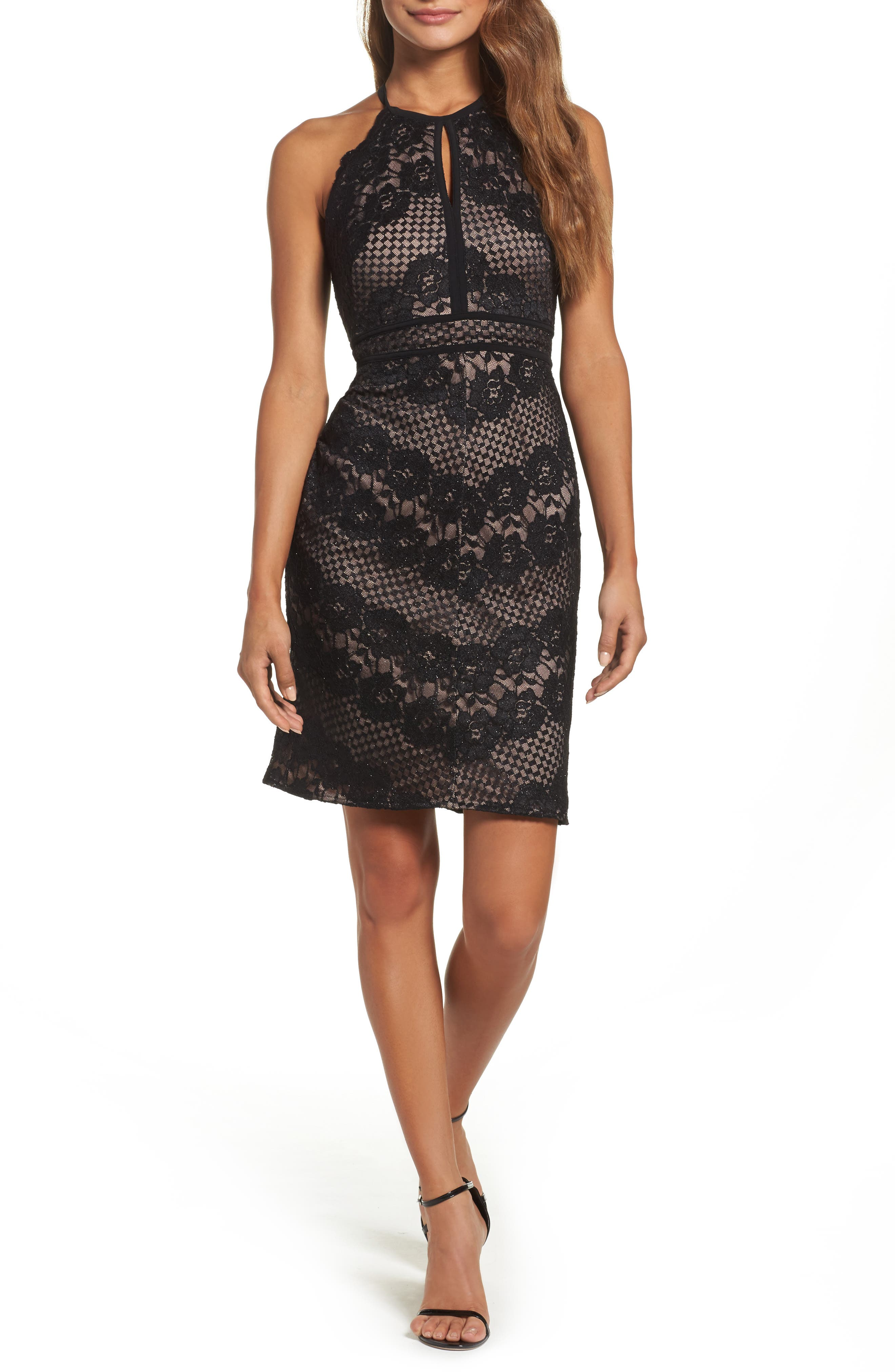 Mitered Lace Halter Body-Con Dress,                             Main thumbnail 1, color,                             Black/ Nude