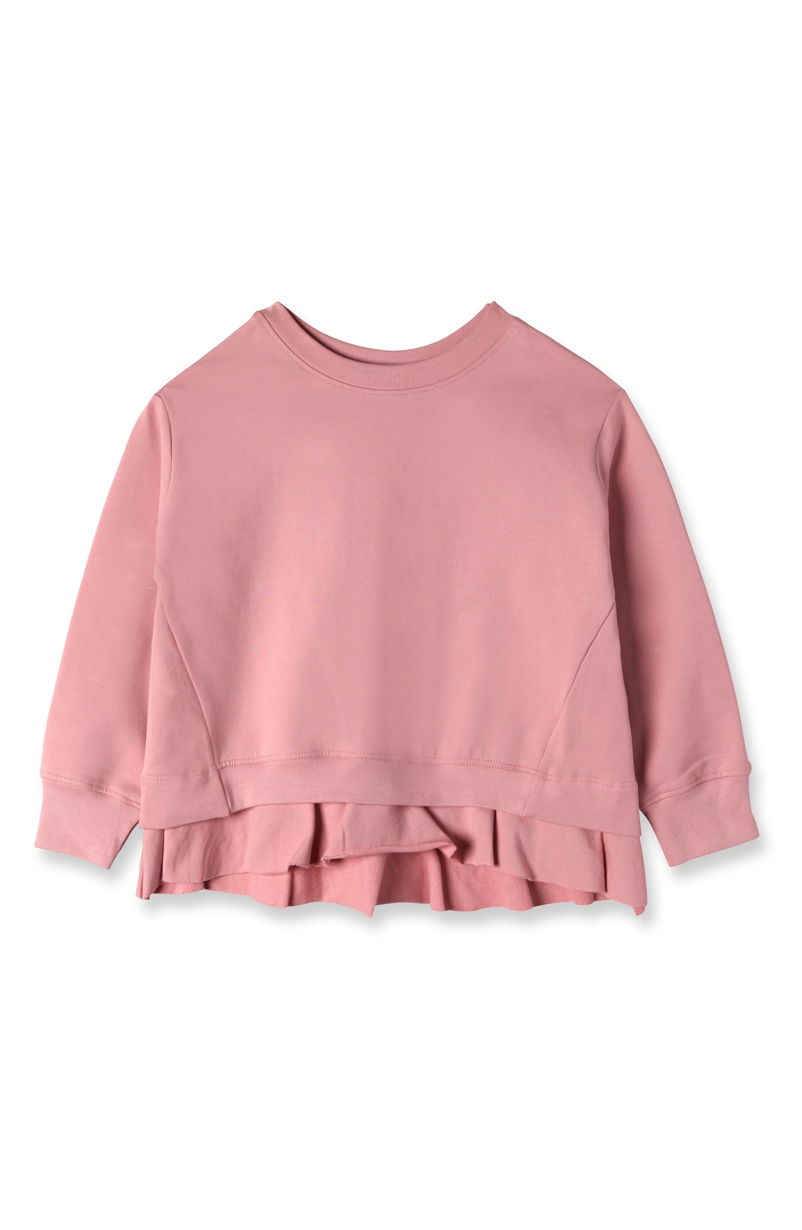 Skylar Ruffle Pullover,                         Main,                         color, Rose