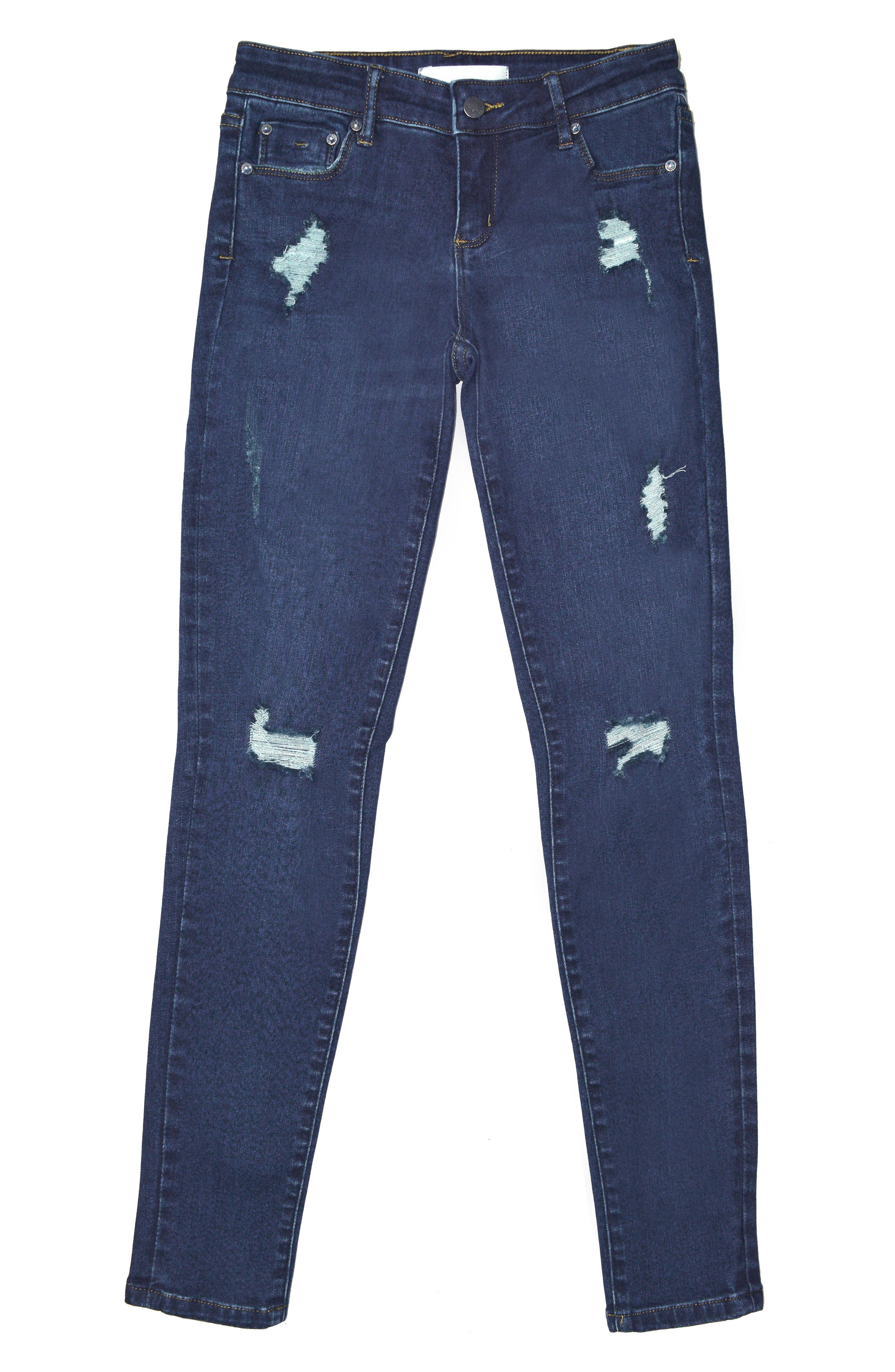 Alternate Image 1 Selected - Tractr Distressed Skinny Jeans (Big Girls)