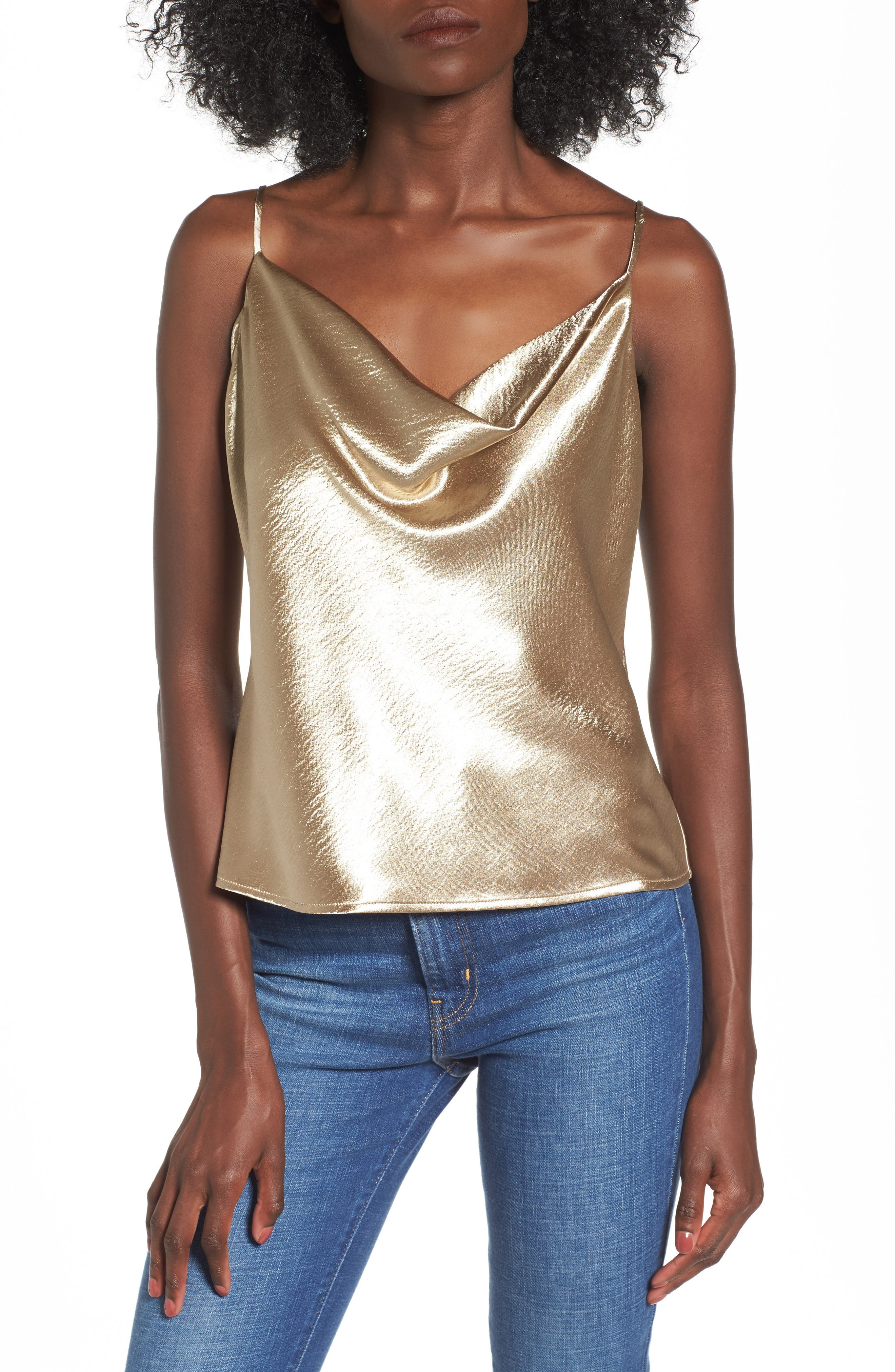 Metallic Cowl Neck Top,                         Main,                         color, Brushed Gold